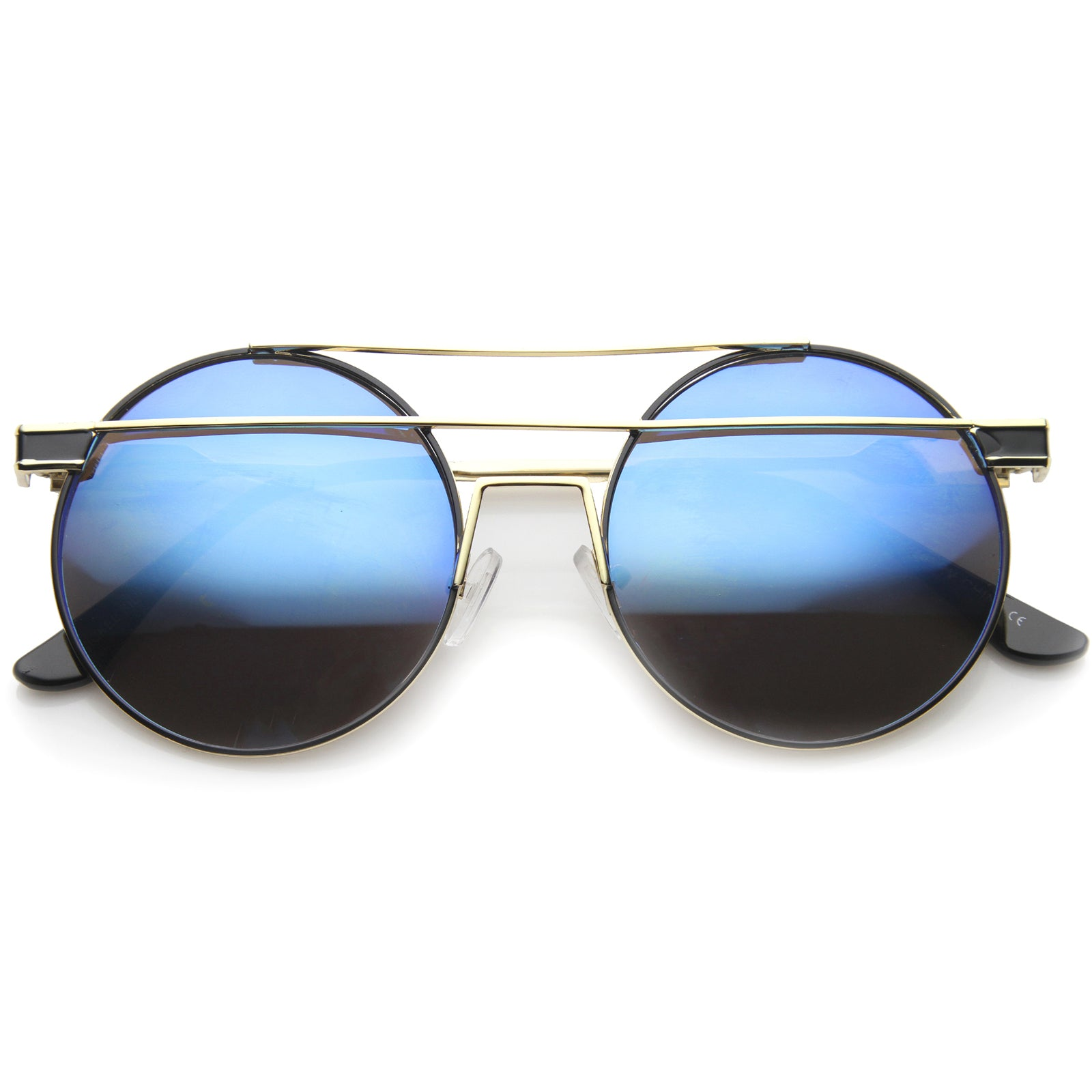 Modern Metal Frame Double Bridge Colored Mirror Lens Round Sunglasses 59mm - sunglass.la - 1