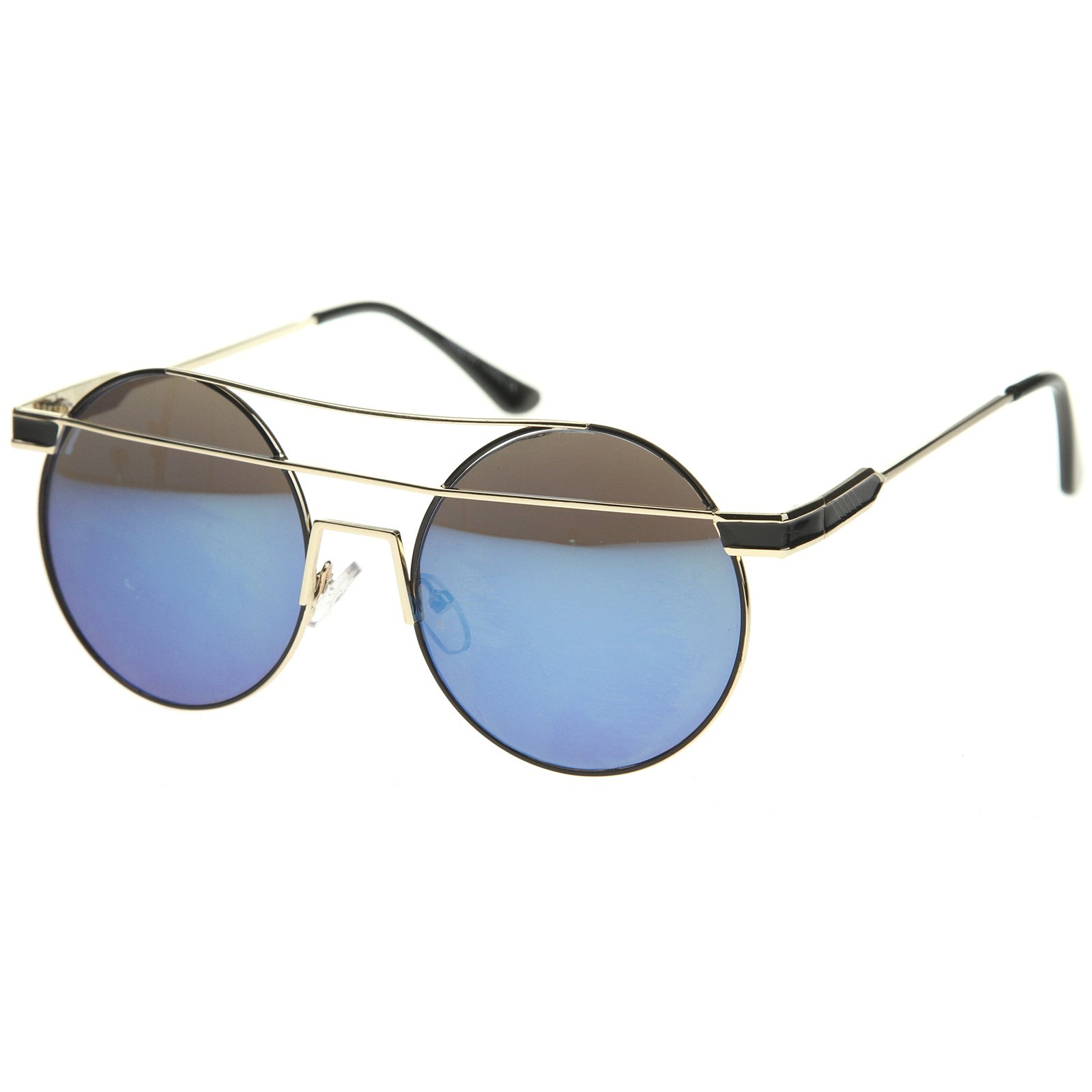 Modern Metal Frame Double Bridge Colored Mirror Lens Round Sunglasses 59mm - sunglass.la - 2