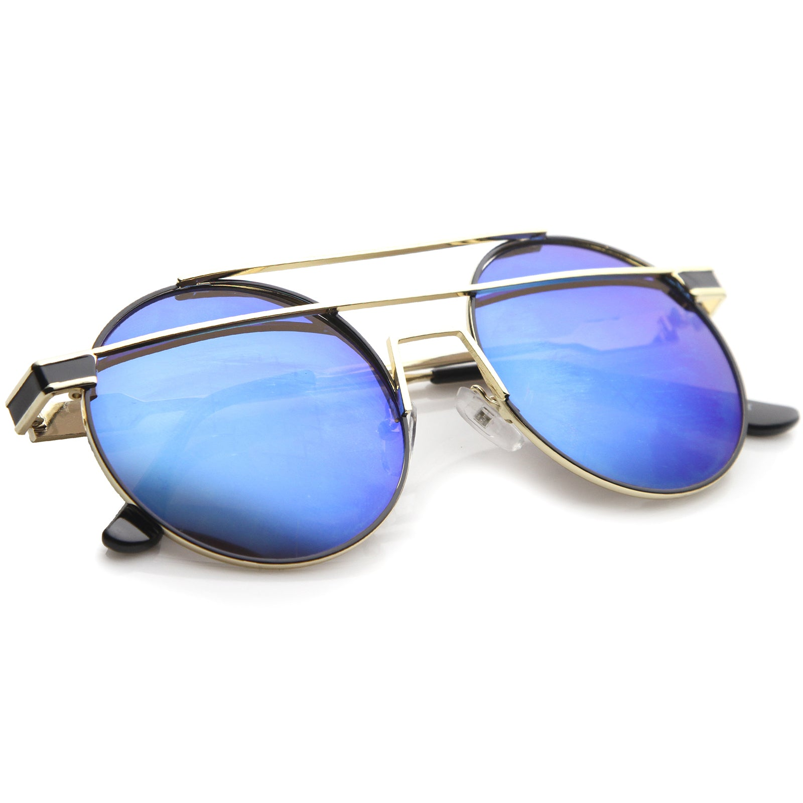 Modern Metal Frame Double Bridge Colored Mirror Lens Round Sunglasses 59mm - sunglass.la - 4