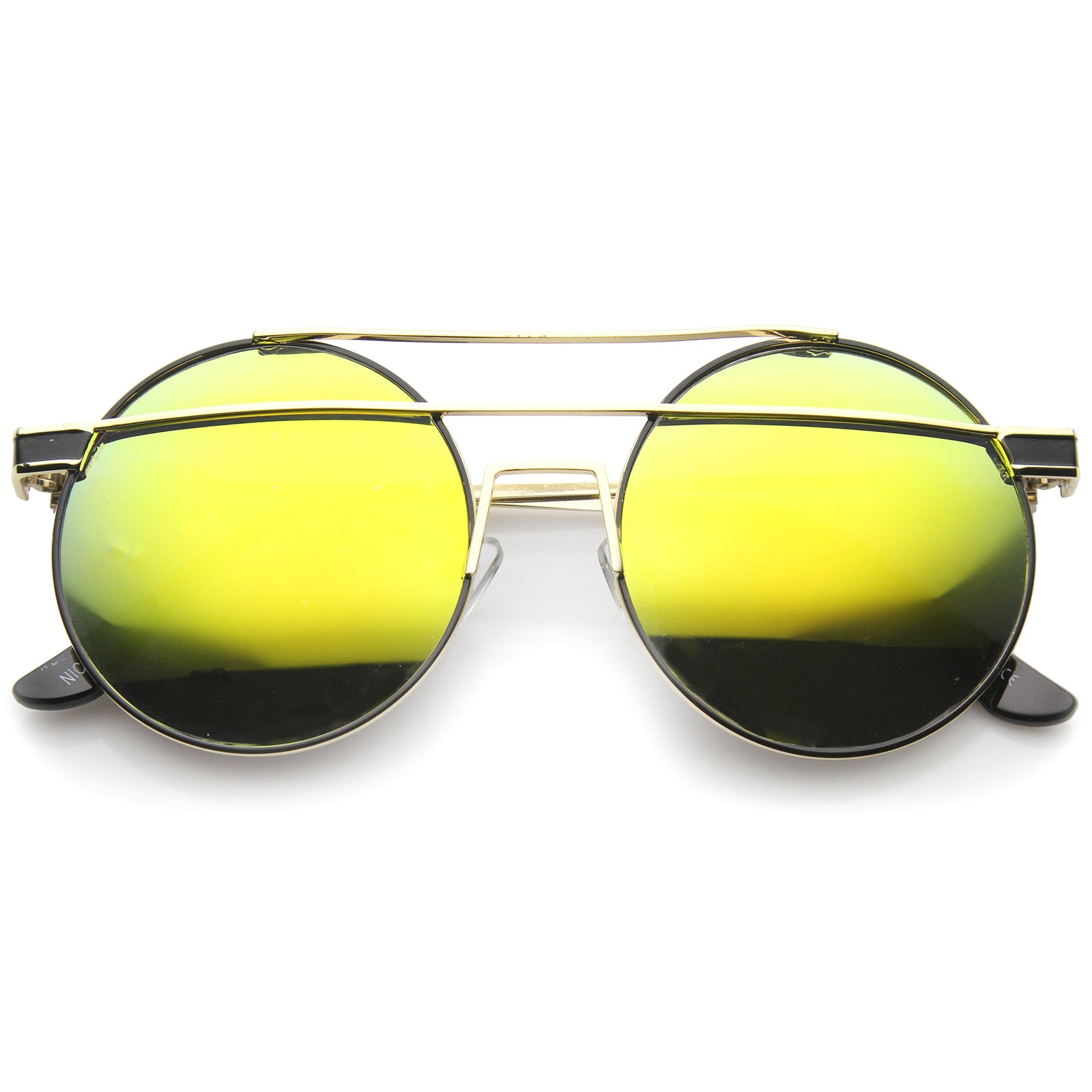 Modern Metal Frame Double Bridge Colored Mirror Lens Round Sunglasses 59mm - sunglass.la - 5