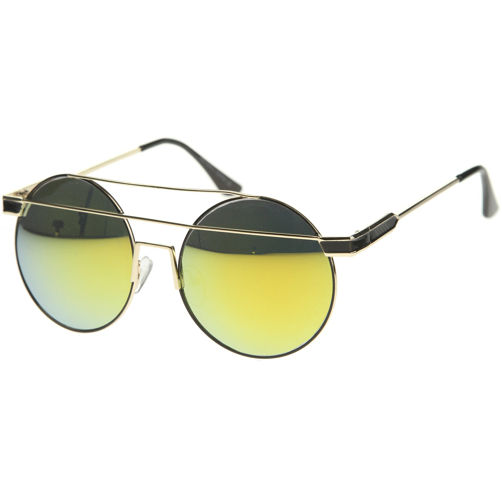 Modern Metal Frame Double Bridge Colored Mirror Lens Round Sunglasses 59mm - sunglass.la - 6