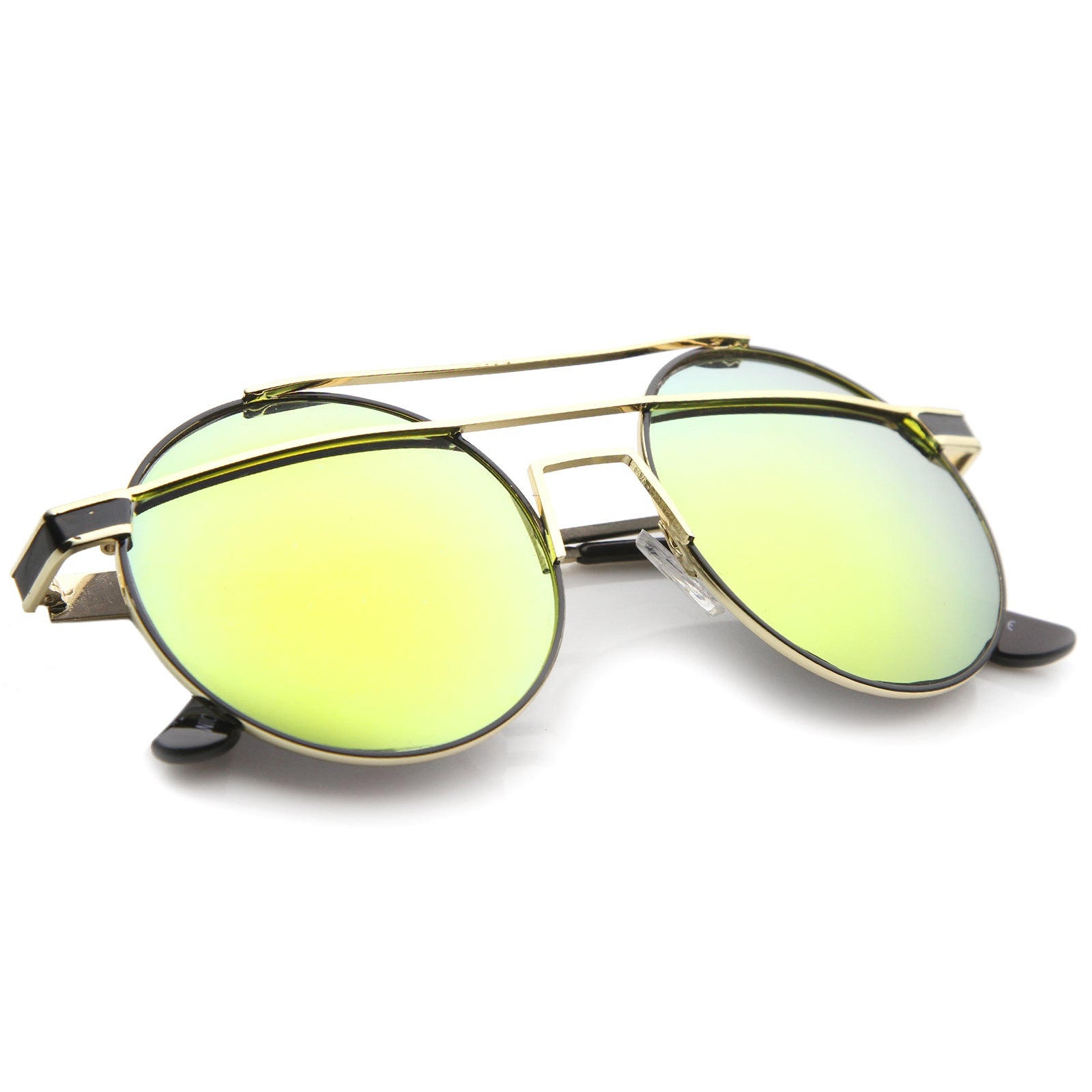 Modern Metal Frame Double Bridge Colored Mirror Lens Round Sunglasses 59mm - sunglass.la - 8