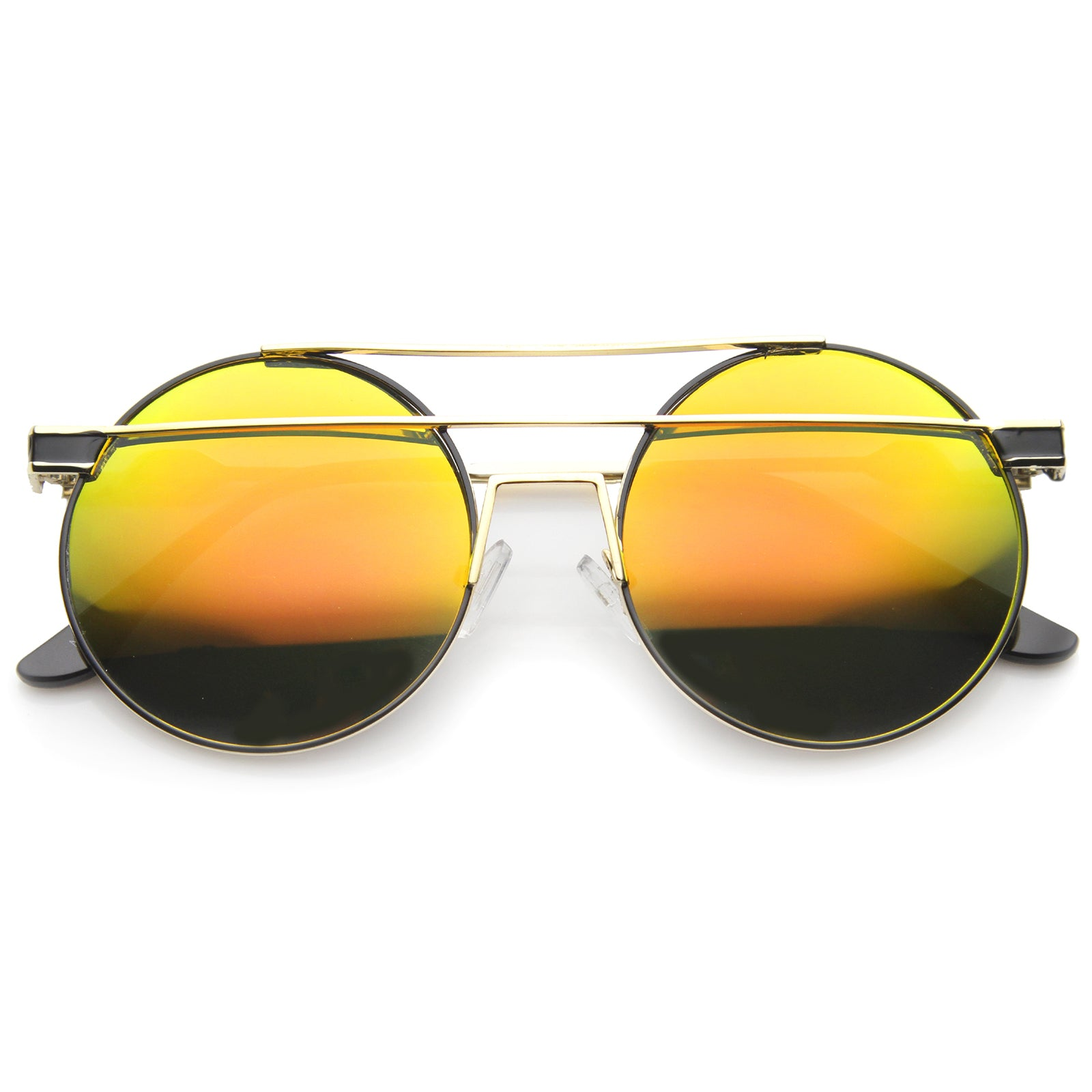 Modern Metal Frame Double Bridge Colored Mirror Lens Round Sunglasses 59mm - sunglass.la - 9