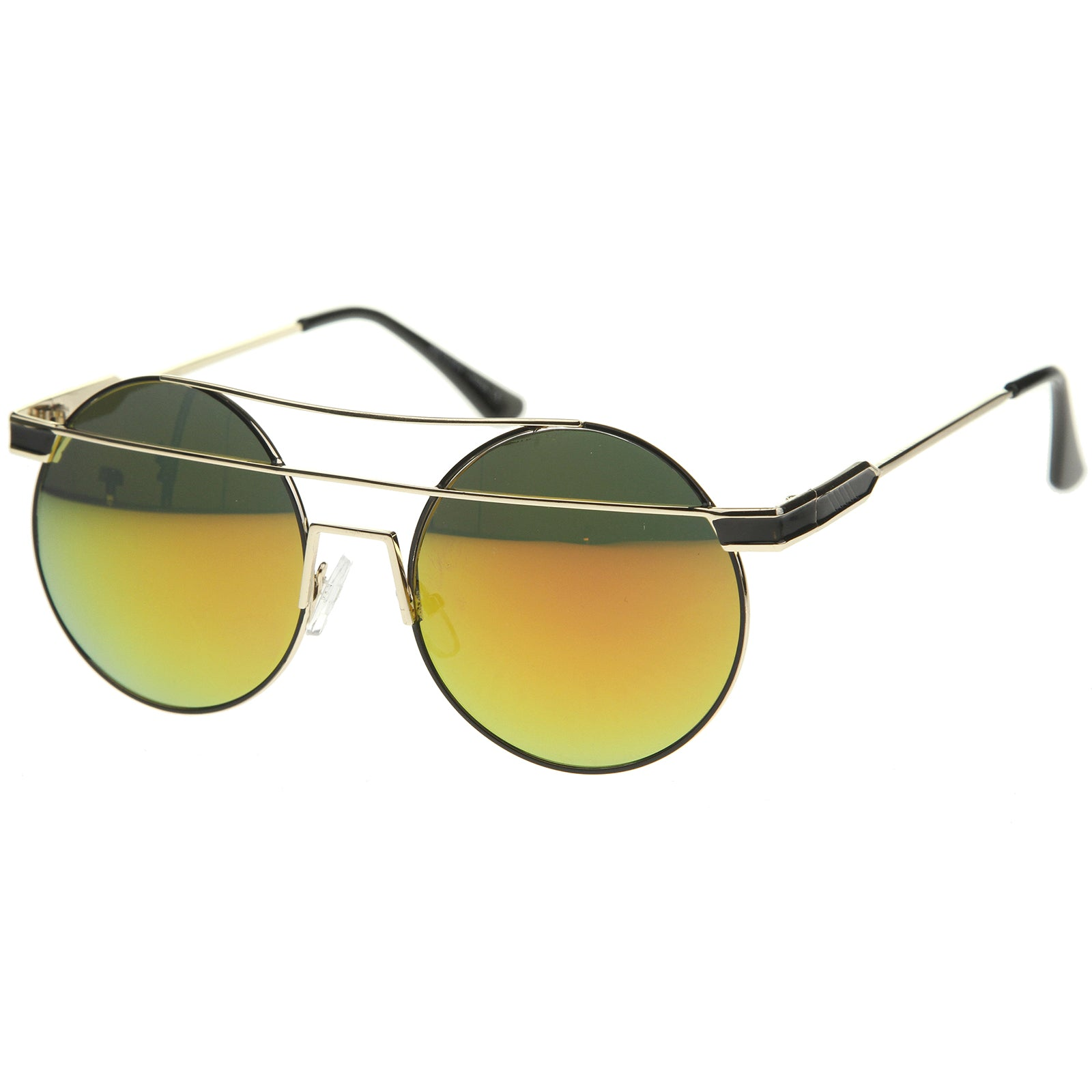 Modern Metal Frame Double Bridge Colored Mirror Lens Round Sunglasses 59mm - sunglass.la - 10