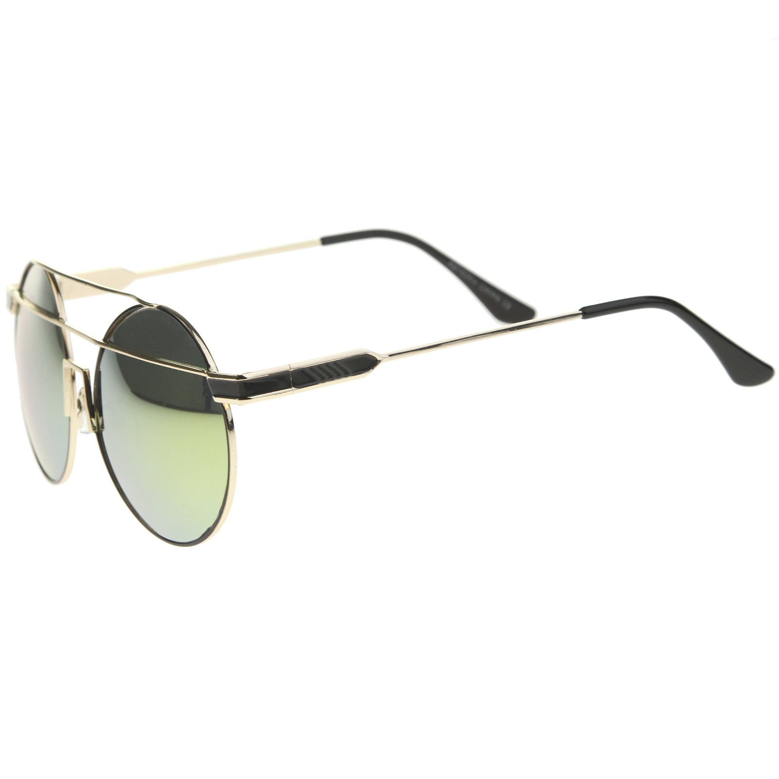 Modern Metal Frame Double Bridge Colored Mirror Lens Round Sunglasses 59mm - sunglass.la - 11
