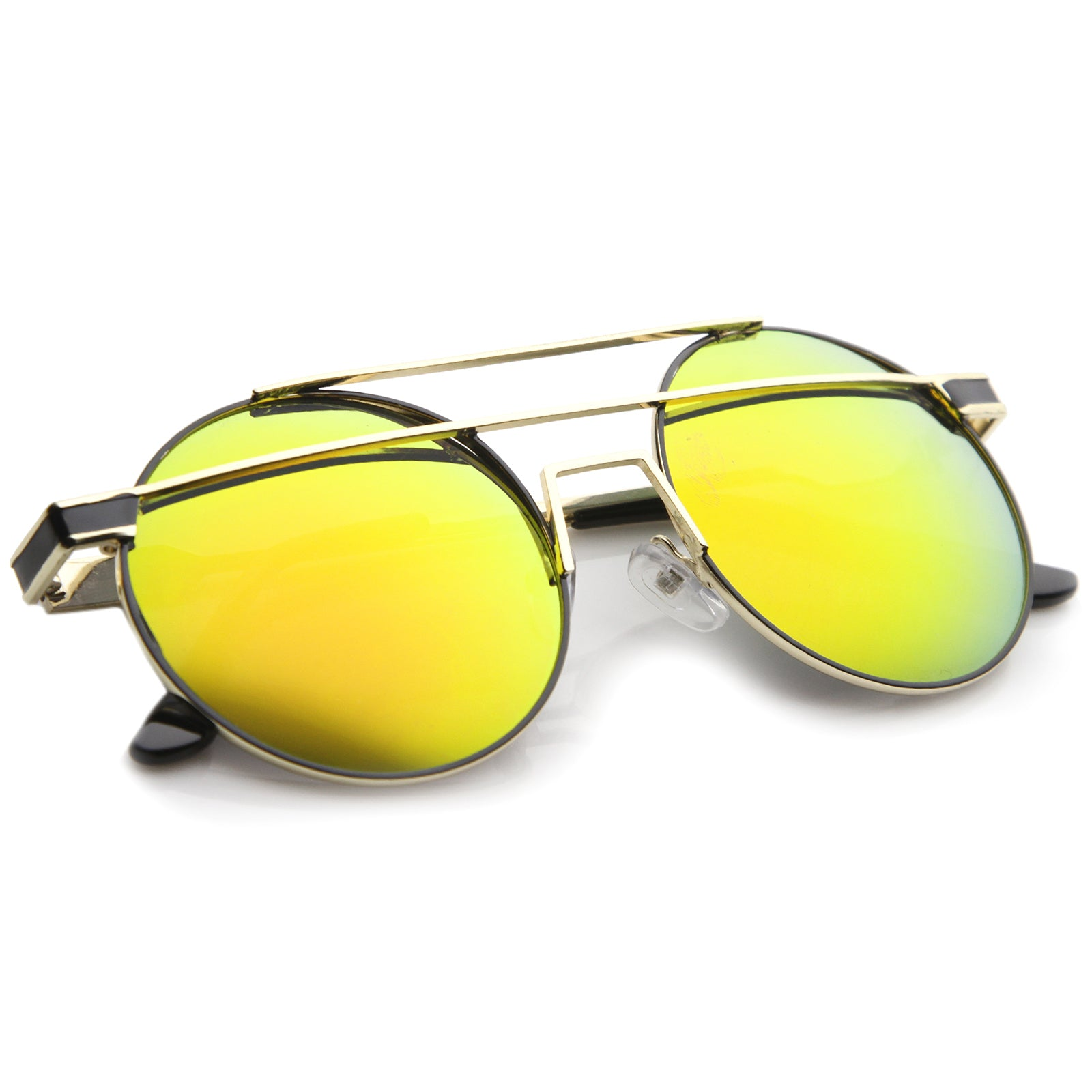 Modern Metal Frame Double Bridge Colored Mirror Lens Round Sunglasses 59mm - sunglass.la - 12