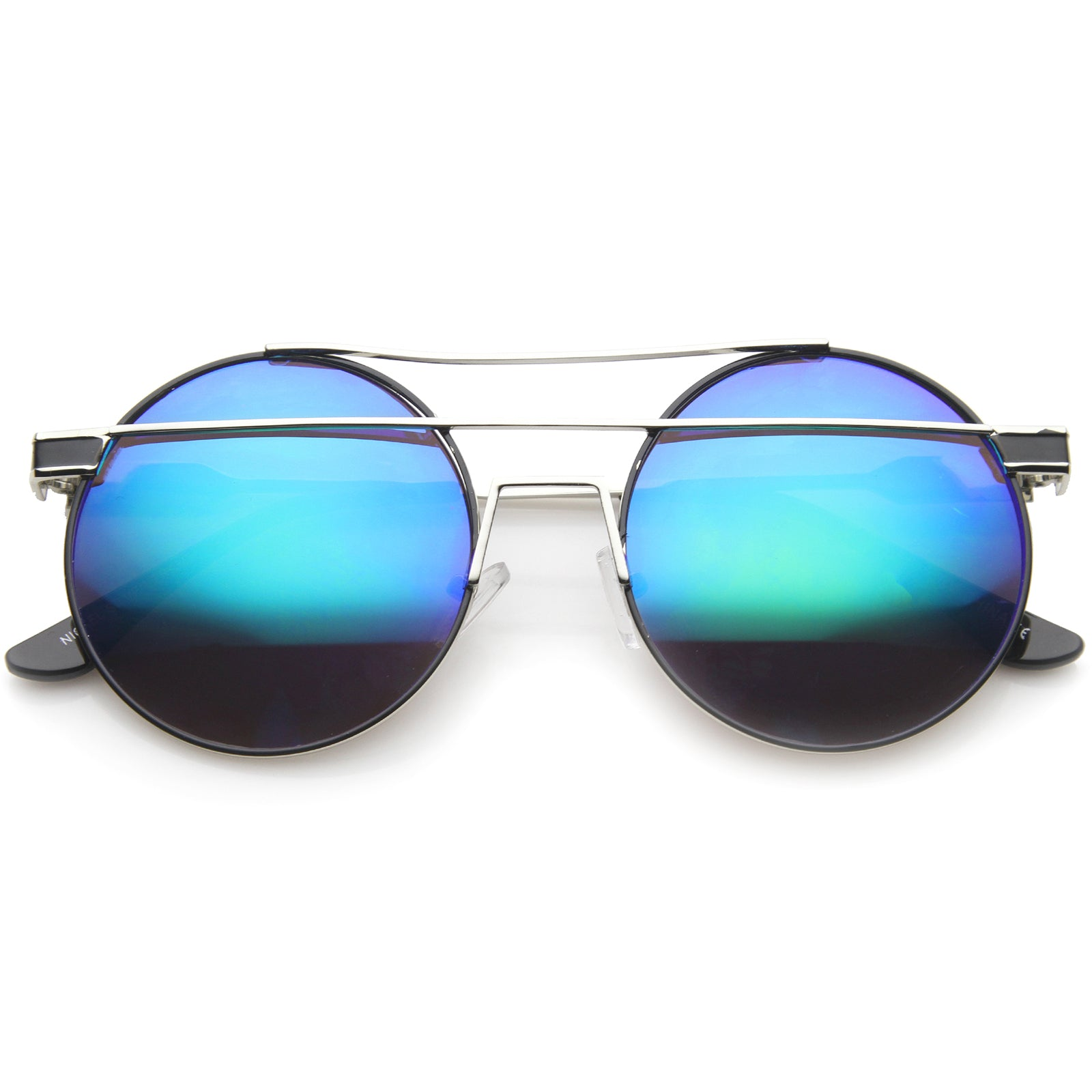 Modern Metal Frame Double Bridge Colored Mirror Lens Round Sunglasses 59mm - sunglass.la - 13