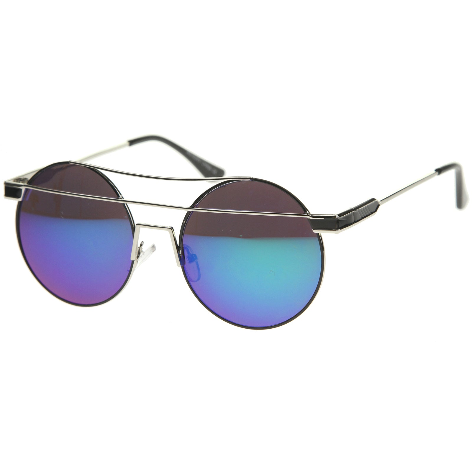 Modern Metal Frame Double Bridge Colored Mirror Lens Round Sunglasses 59mm - sunglass.la - 14