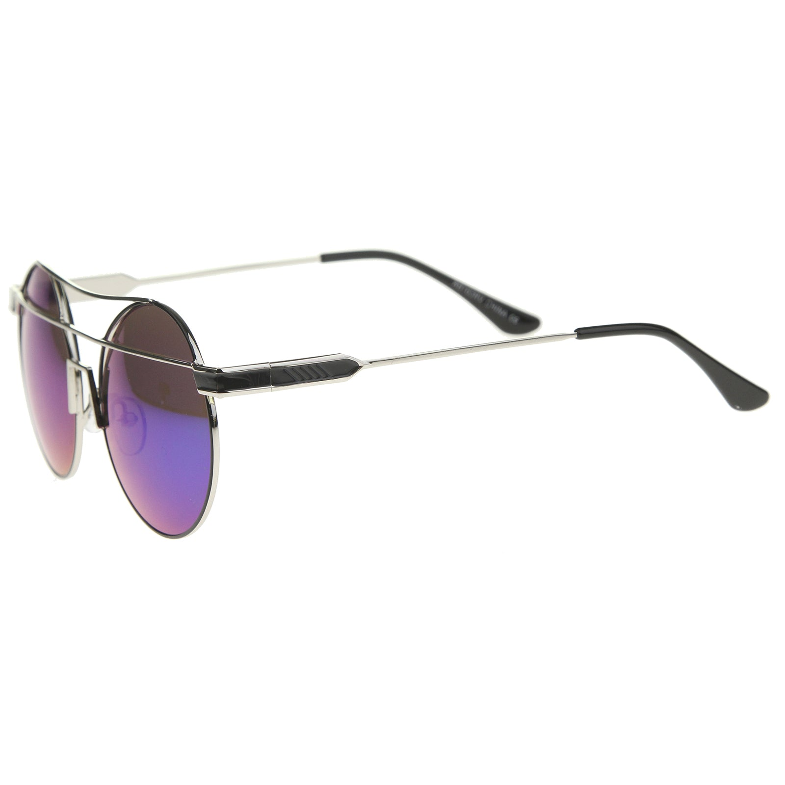 Modern Metal Frame Double Bridge Colored Mirror Lens Round Sunglasses 59mm - sunglass.la - 15
