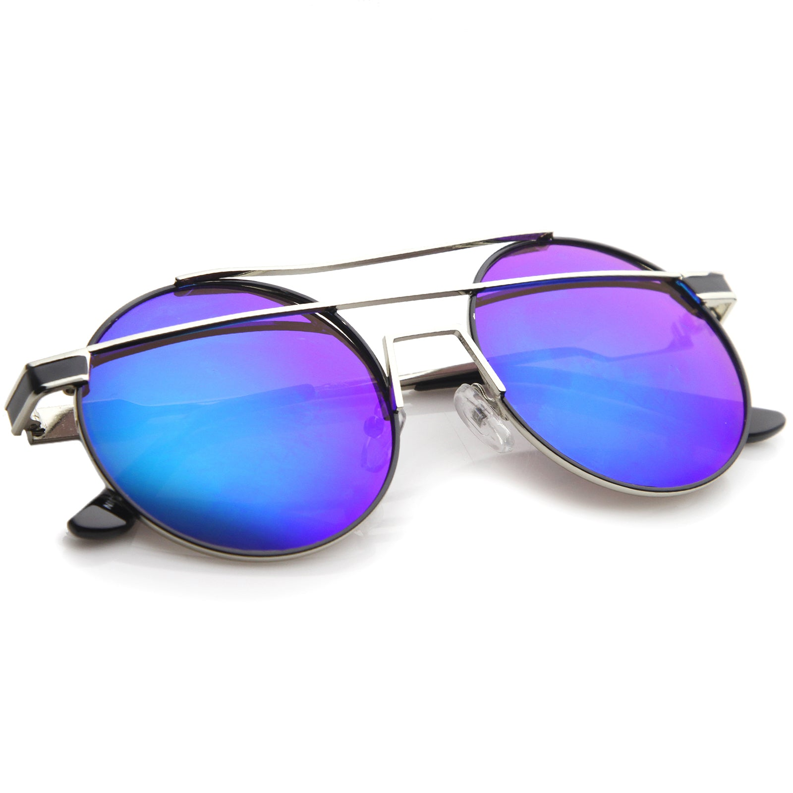 Modern Metal Frame Double Bridge Colored Mirror Lens Round Sunglasses 59mm - sunglass.la - 16