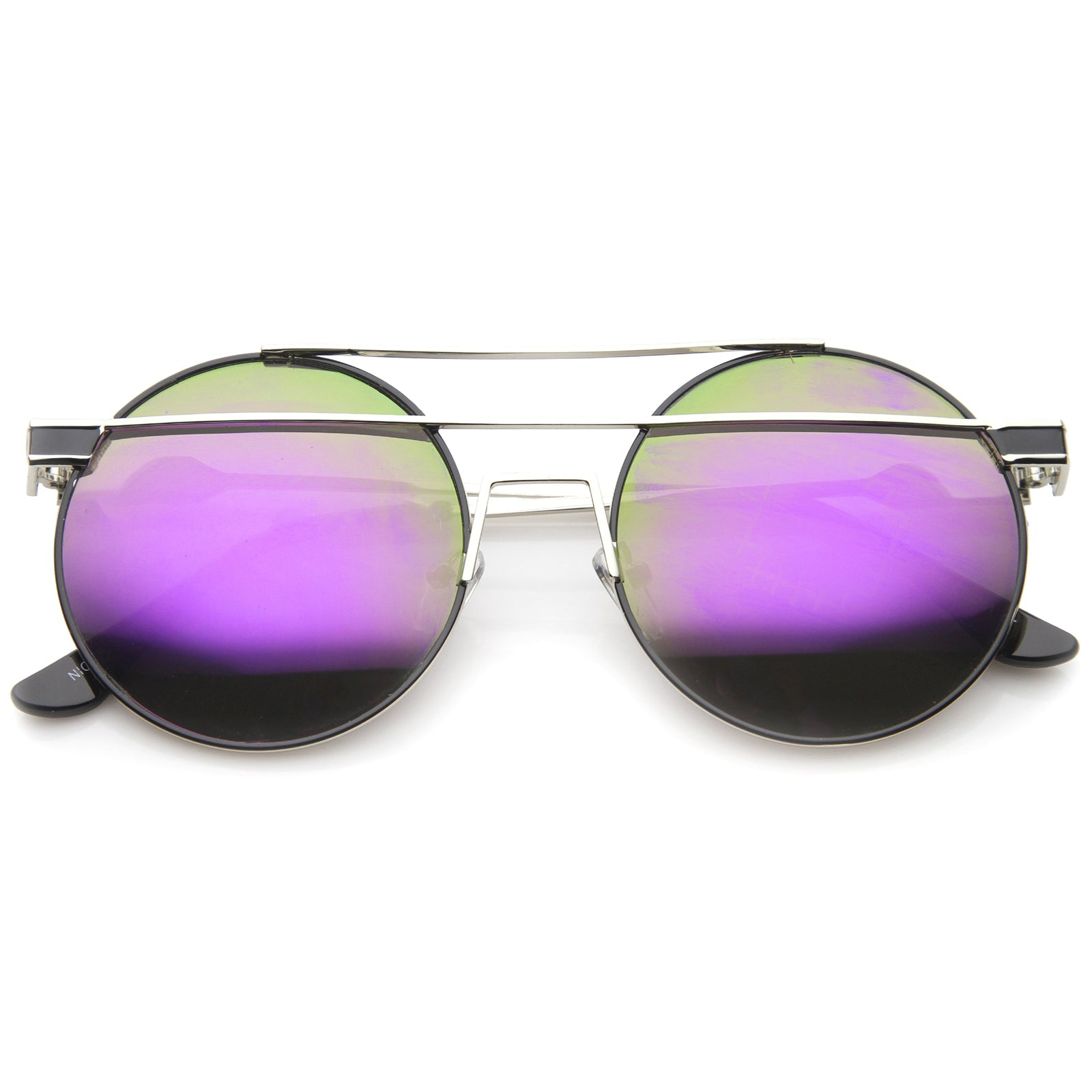 Modern Metal Frame Double Bridge Colored Mirror Lens Round Sunglasses 59mm - sunglass.la - 17