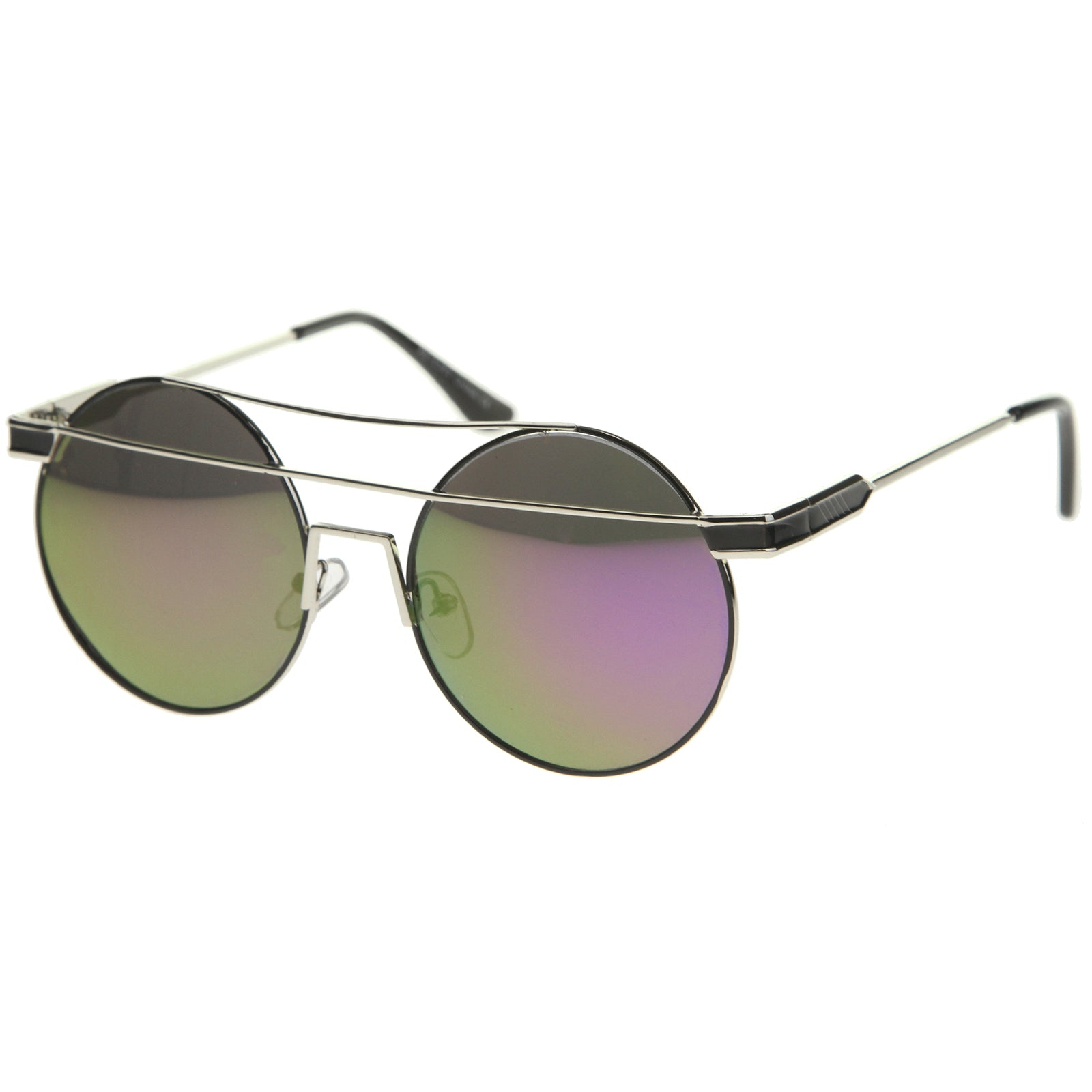 Modern Metal Frame Double Bridge Colored Mirror Lens Round Sunglasses 59mm - sunglass.la - 18