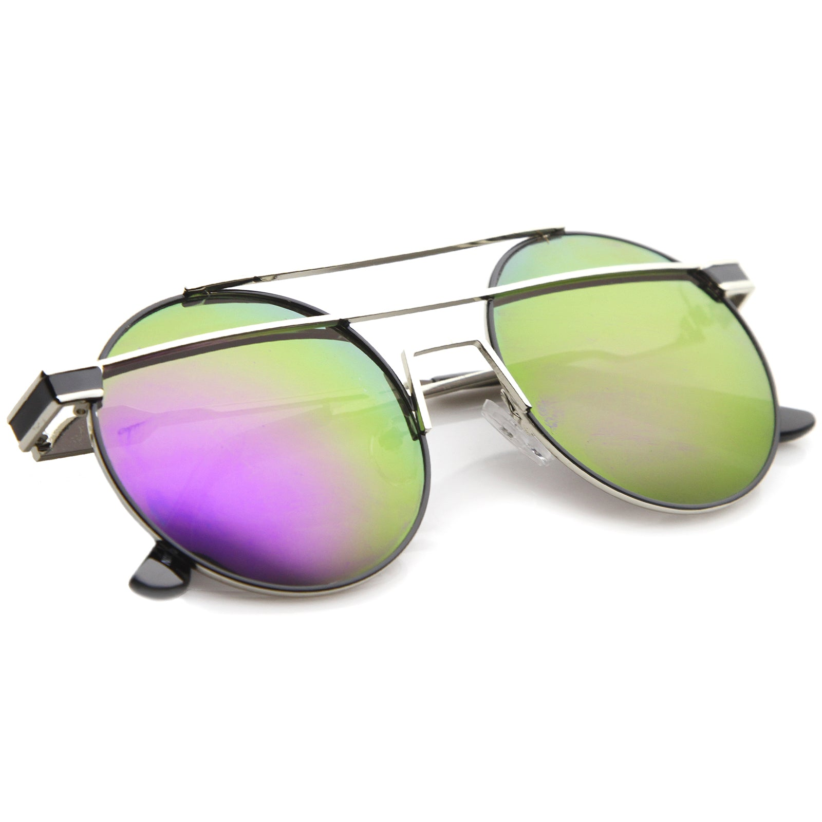 Modern Metal Frame Double Bridge Colored Mirror Lens Round Sunglasses 59mm - sunglass.la - 20
