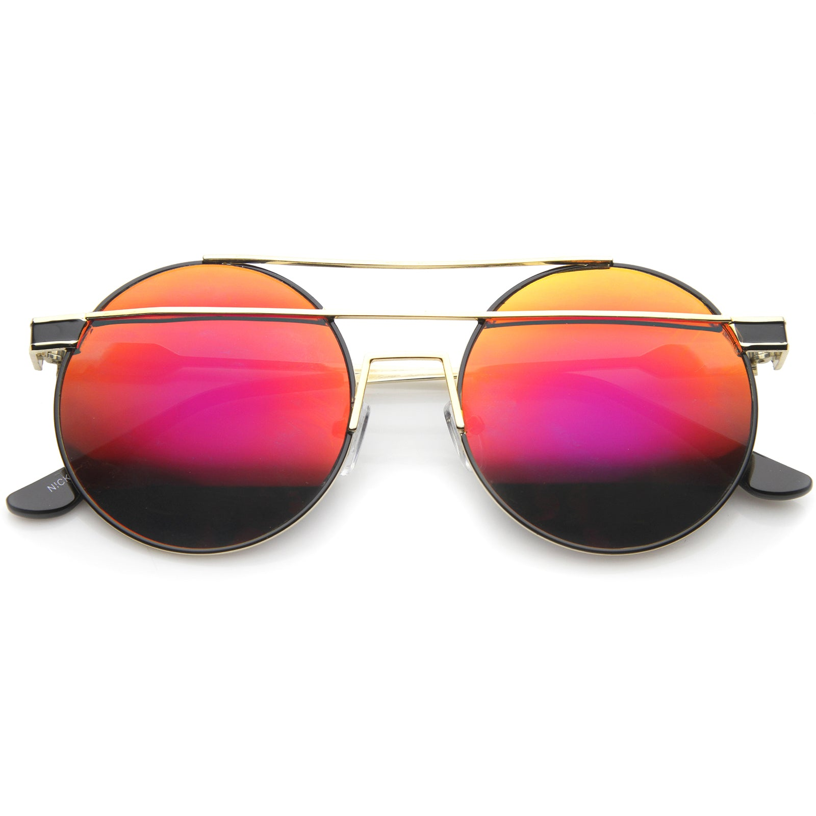 Modern Metal Frame Double Bridge Colored Mirror Lens Round Sunglasses 59mm - sunglass.la - 21