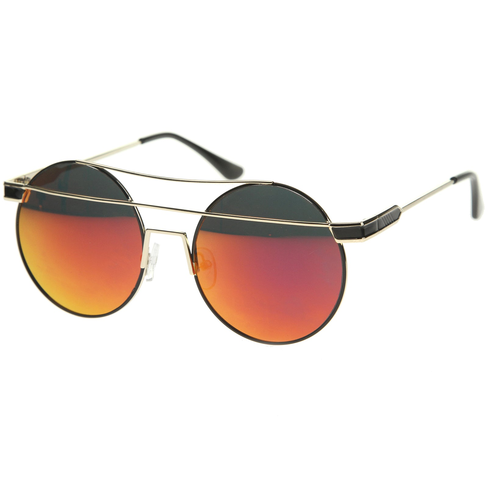 Modern Metal Frame Double Bridge Colored Mirror Lens Round Sunglasses 59mm - sunglass.la - 22