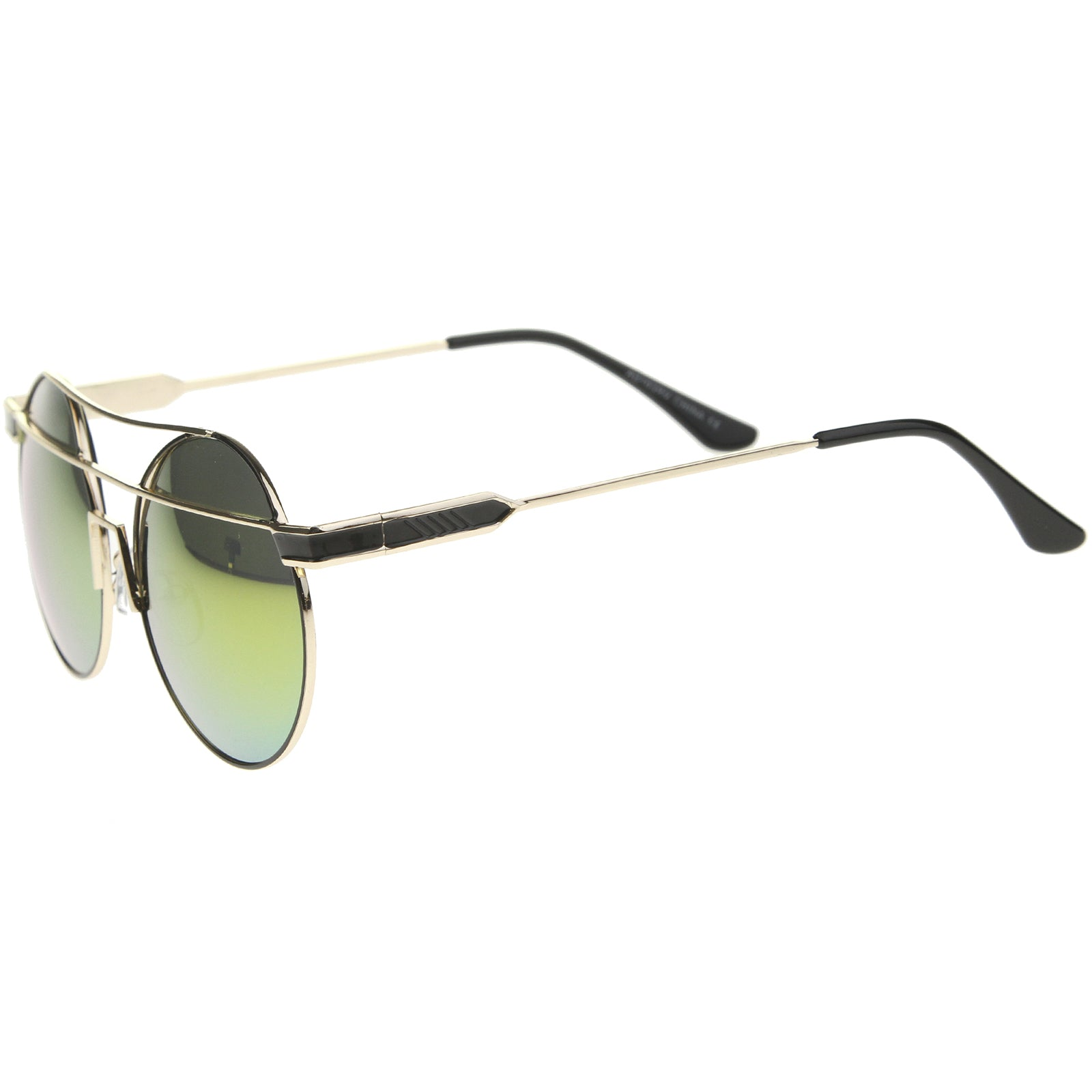 Modern Metal Frame Double Bridge Colored Mirror Lens Round Sunglasses 59mm - sunglass.la - 23