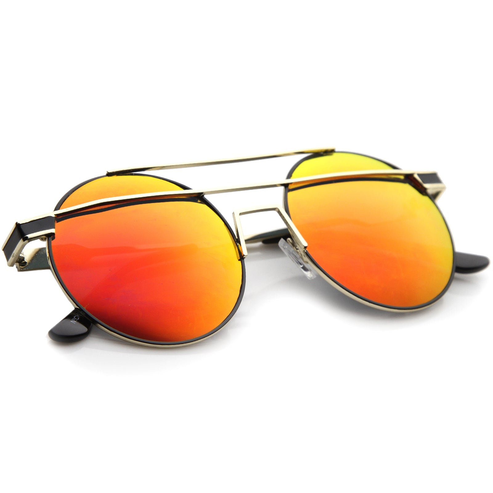 Modern Metal Frame Double Bridge Colored Mirror Lens Round Sunglasses 59mm - sunglass.la - 24
