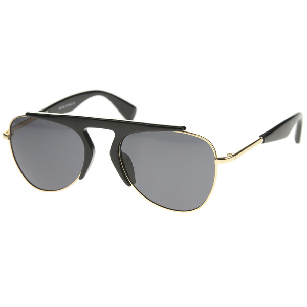 Modern Oversize Semi-Rimless Frame Teardrop Lens Aviator Sunglasses 57mm - sunglass.la - 1