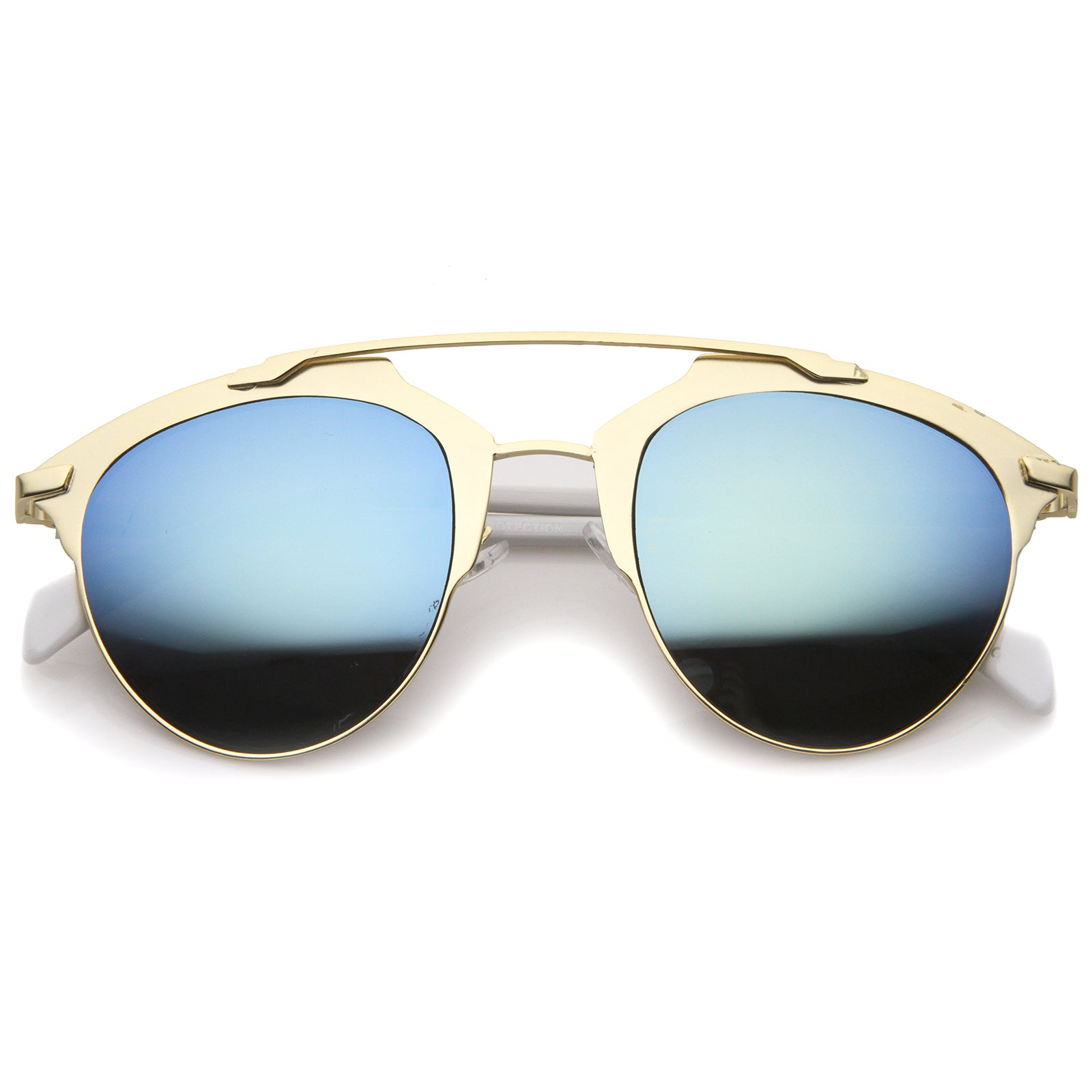 Modern Fashion Metal Double Bridge Mirror Lens Pantos Aviator Sunglasses 50mm - sunglass.la - 1