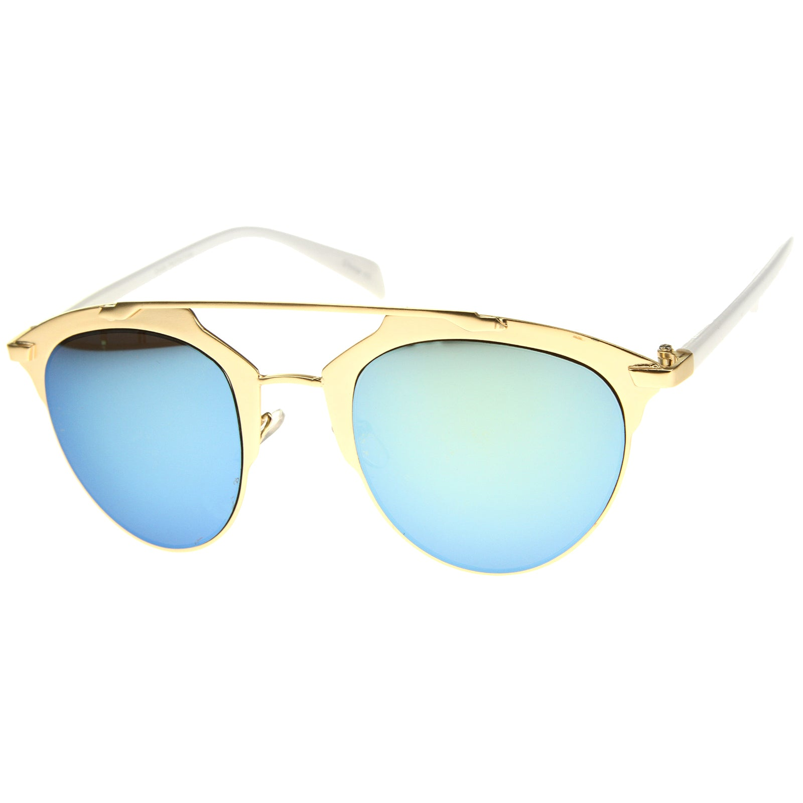 Modern Fashion Metal Double Bridge Mirror Lens Pantos Aviator Sunglasses 50mm - sunglass.la - 2