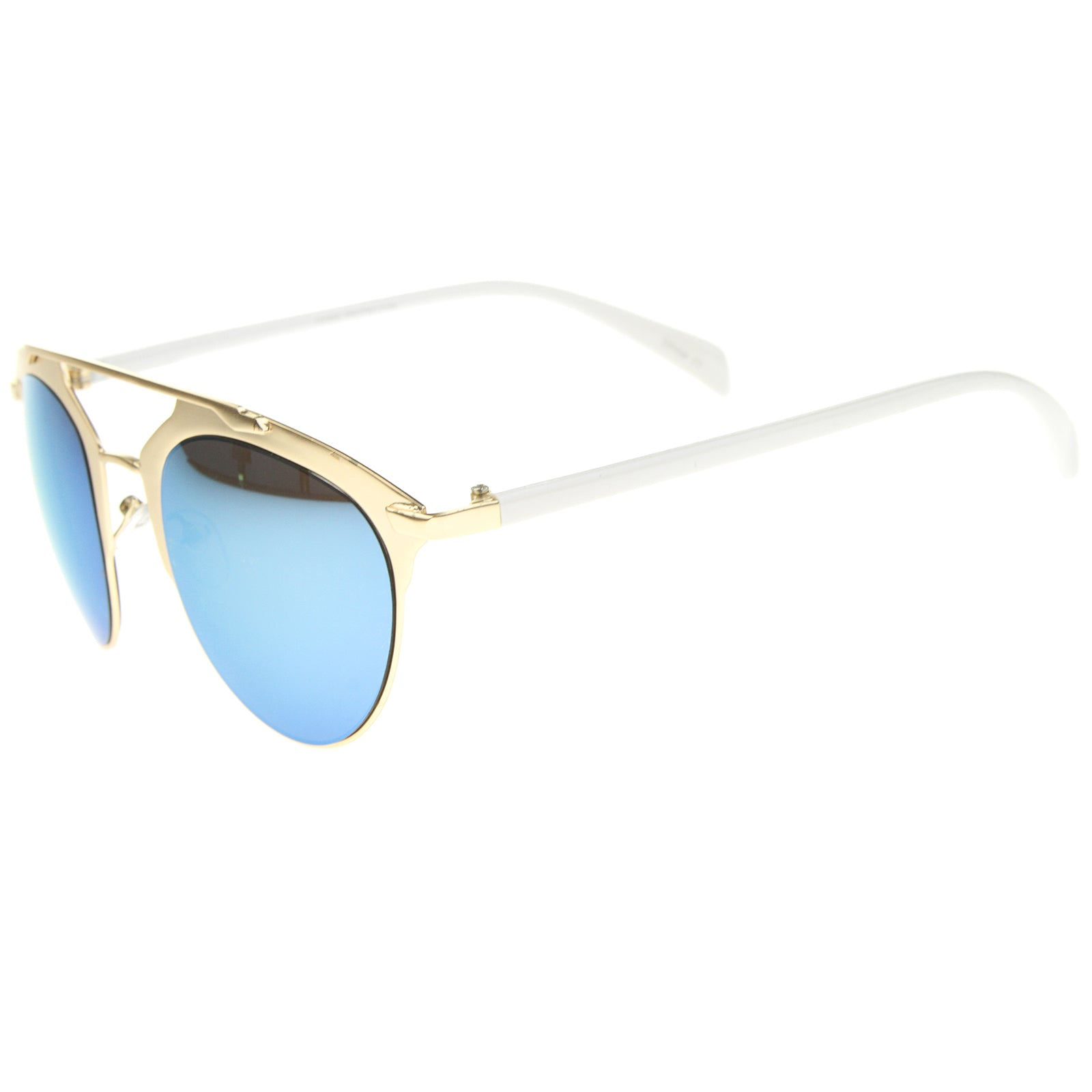 Modern Fashion Metal Double Bridge Mirror Lens Pantos Aviator Sunglasses 50mm - sunglass.la - 3