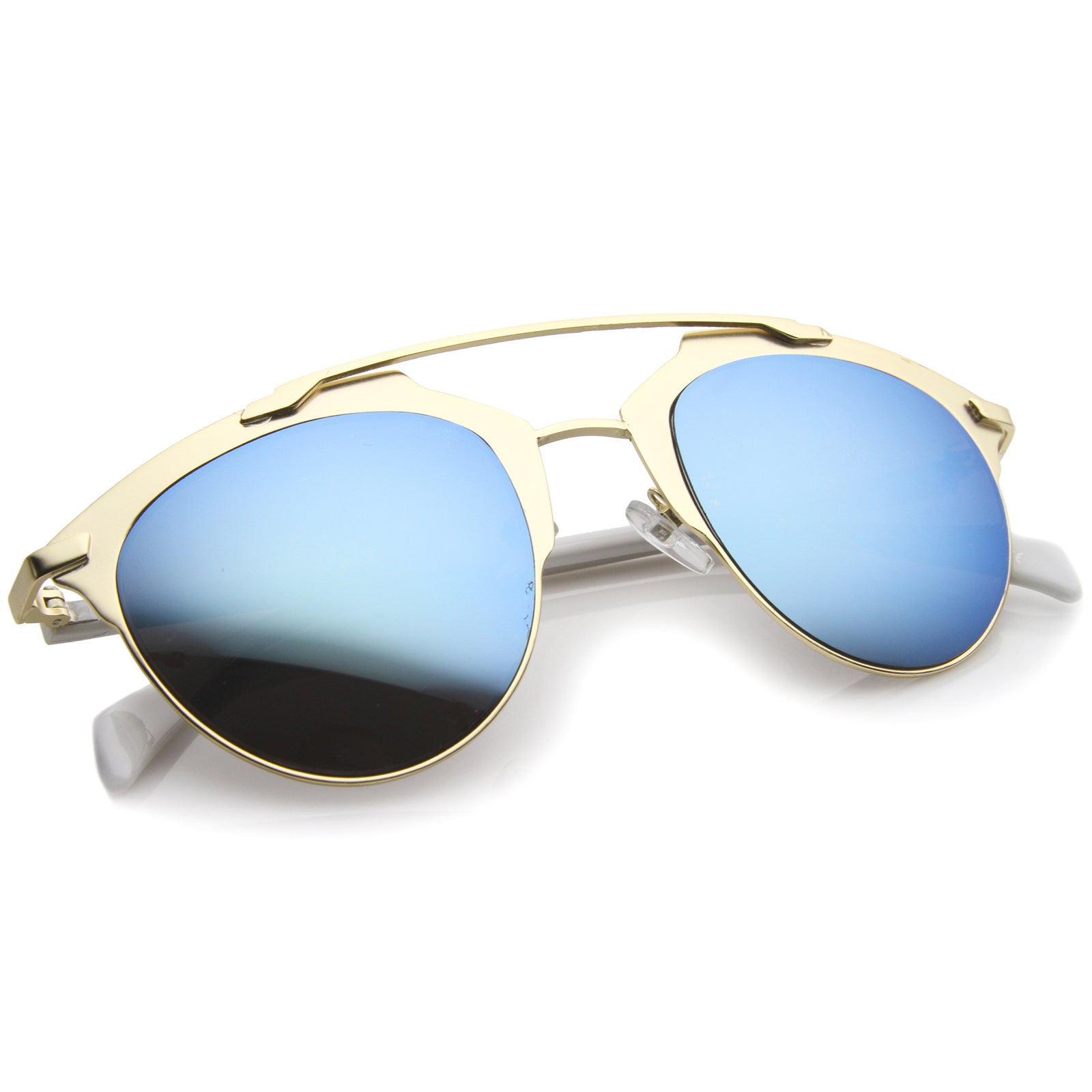 Modern Fashion Metal Double Bridge Mirror Lens Pantos Aviator Sunglasses 50mm - sunglass.la - 4