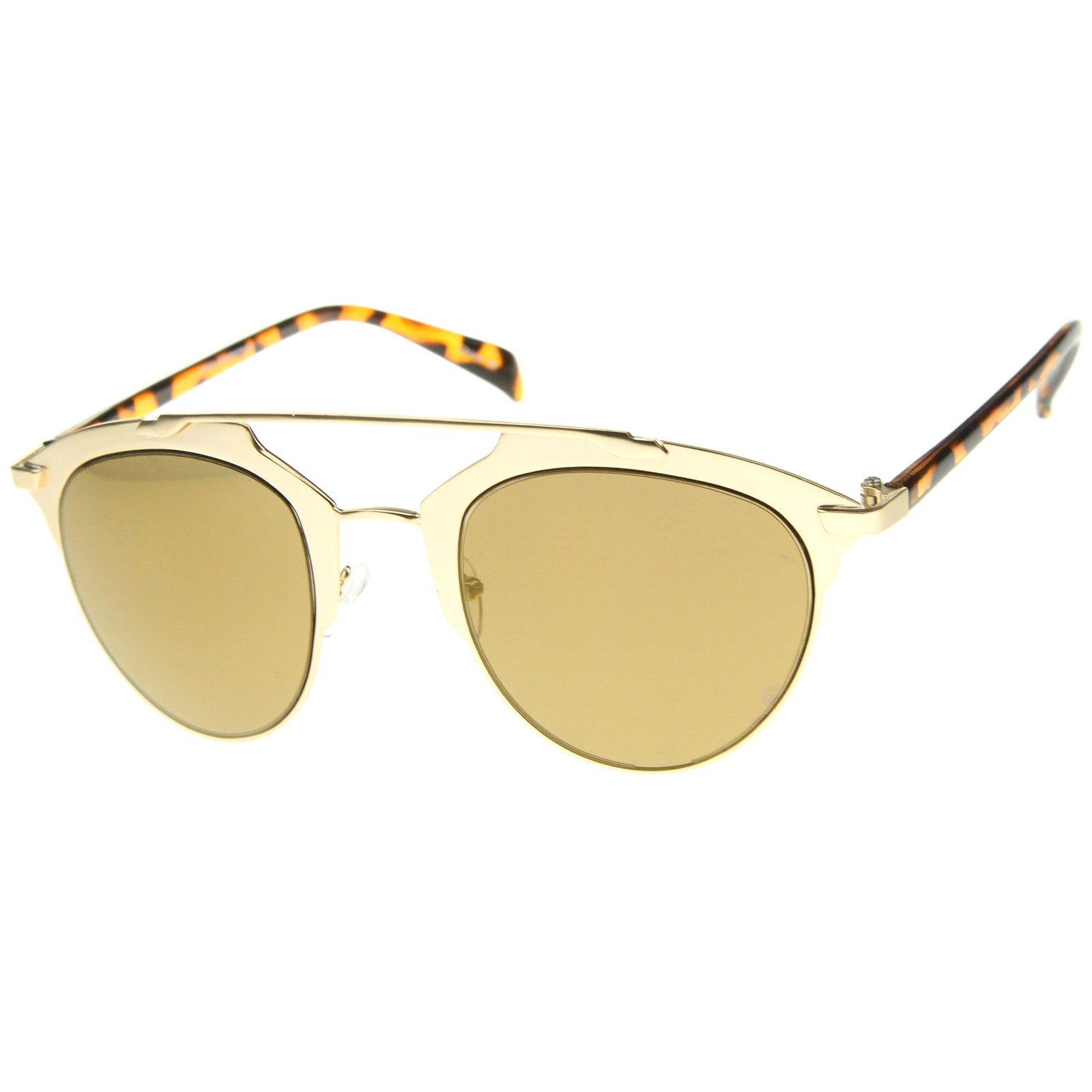 Modern Fashion Metal Double Bridge Mirror Lens Pantos Aviator Sunglasses 50mm - sunglass.la - 6