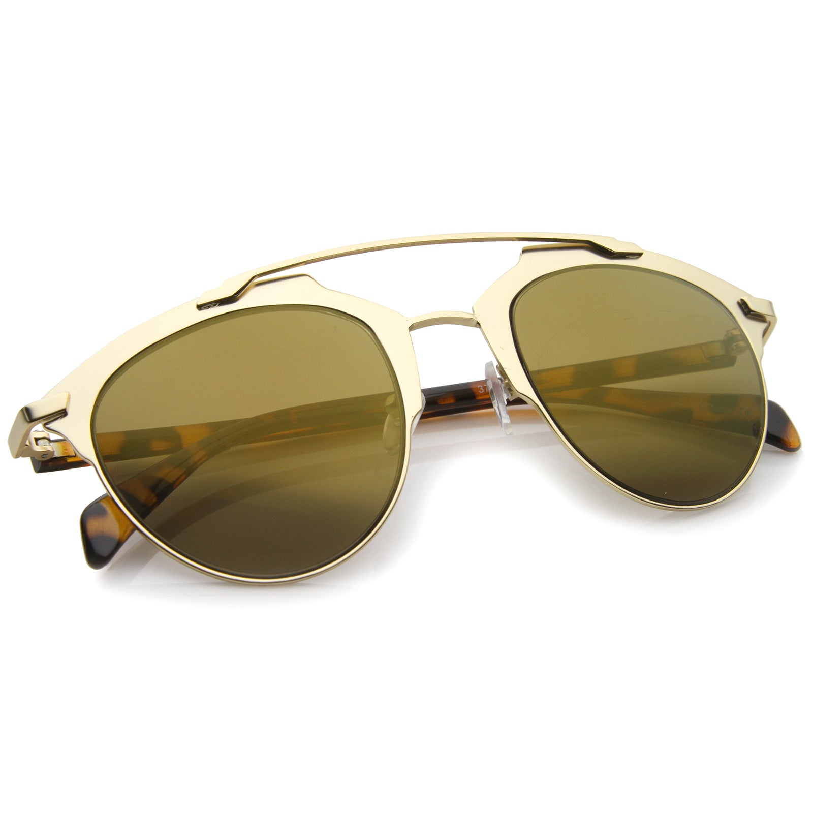Modern Fashion Metal Double Bridge Mirror Lens Pantos Aviator Sunglasses 50mm - sunglass.la - 8