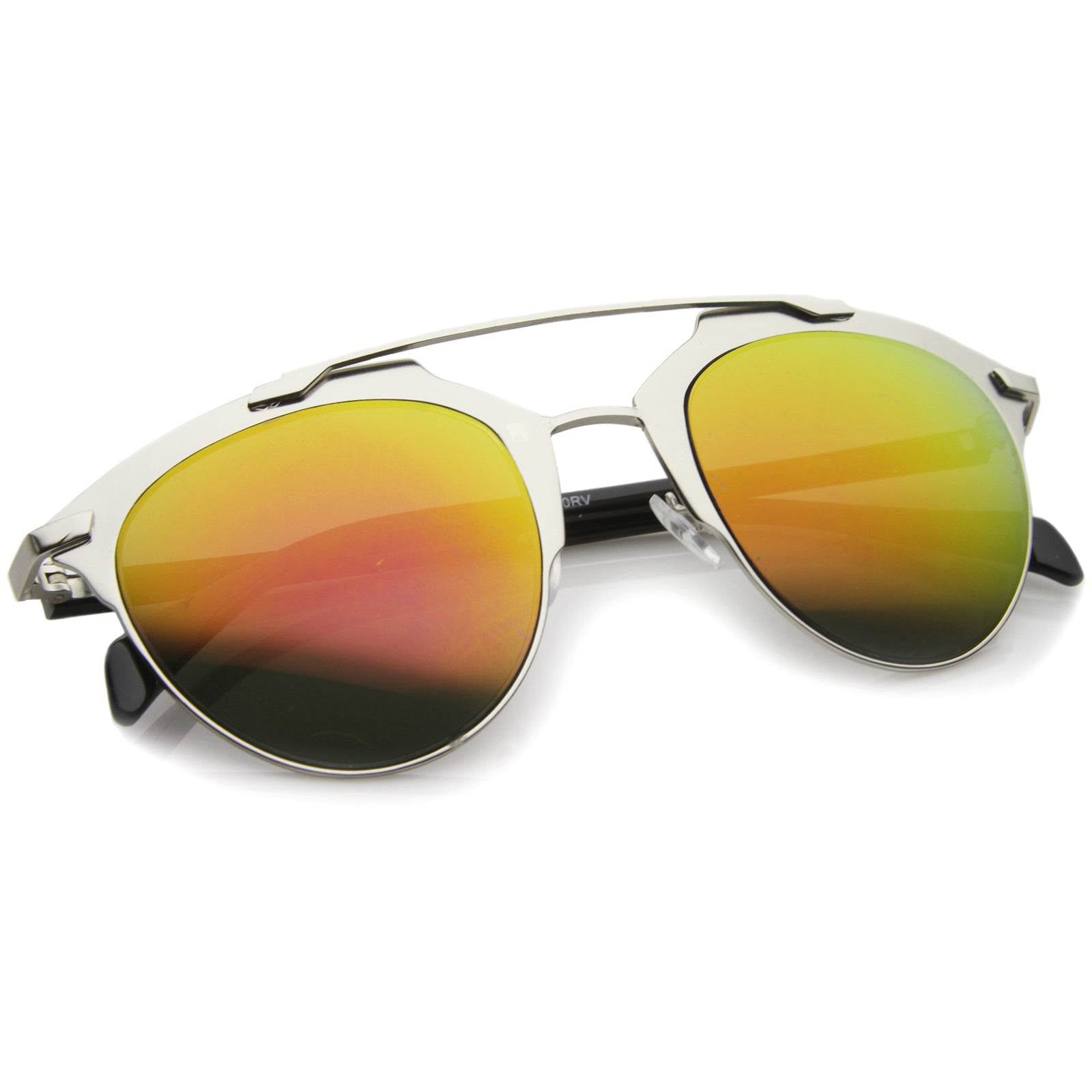 Modern Fashion Metal Double Bridge Mirror Lens Pantos Aviator Sunglasses 50mm - sunglass.la - 12