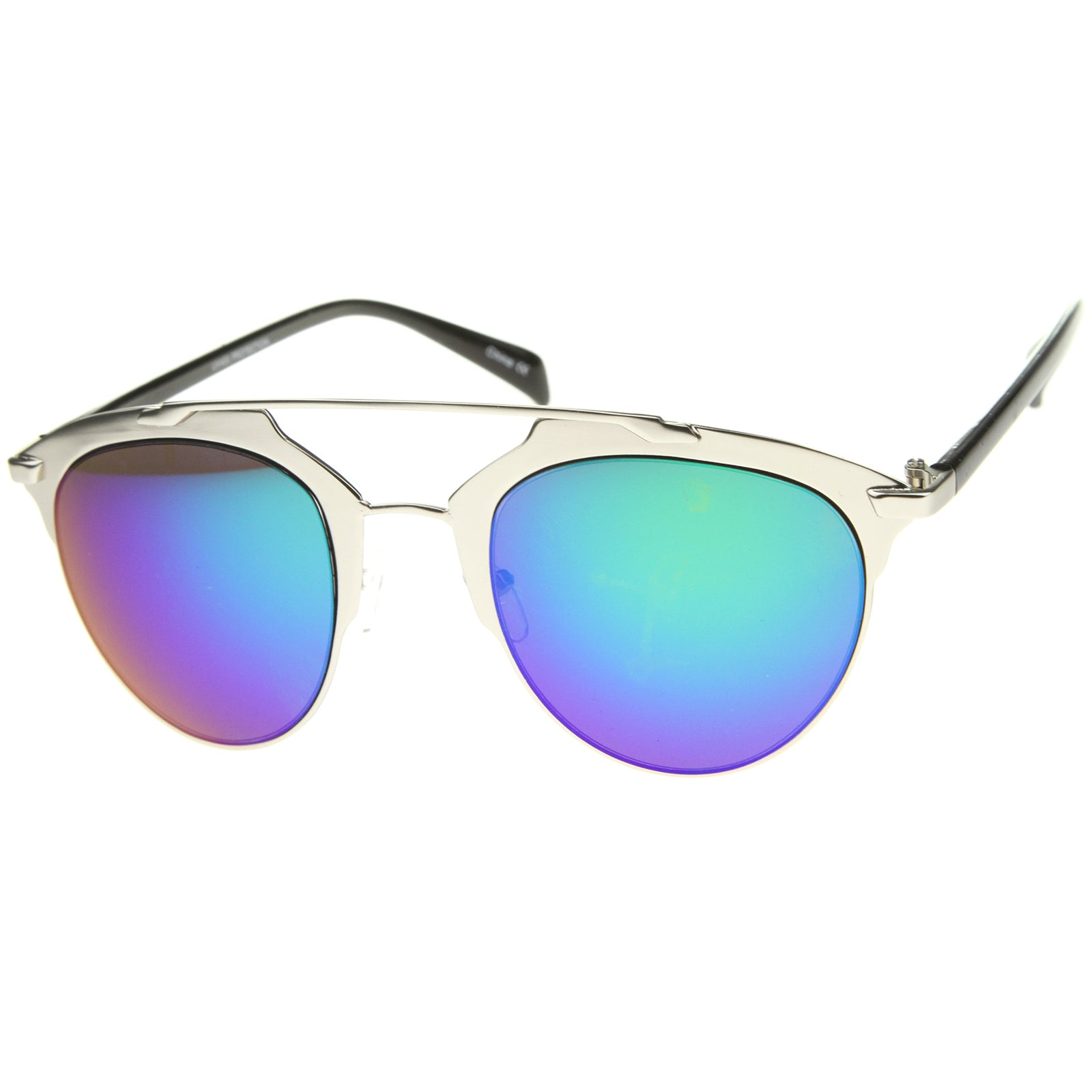 Modern Fashion Metal Double Bridge Mirror Lens Pantos Aviator Sunglasses 50mm - sunglass.la - 14