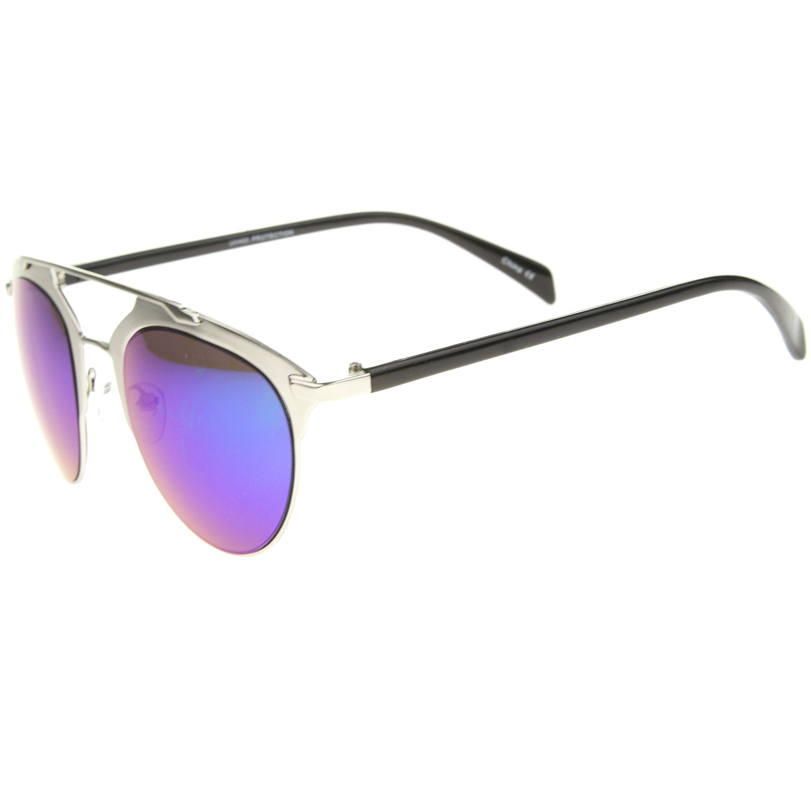 Modern Fashion Metal Double Bridge Mirror Lens Pantos Aviator Sunglasses 50mm - sunglass.la - 15