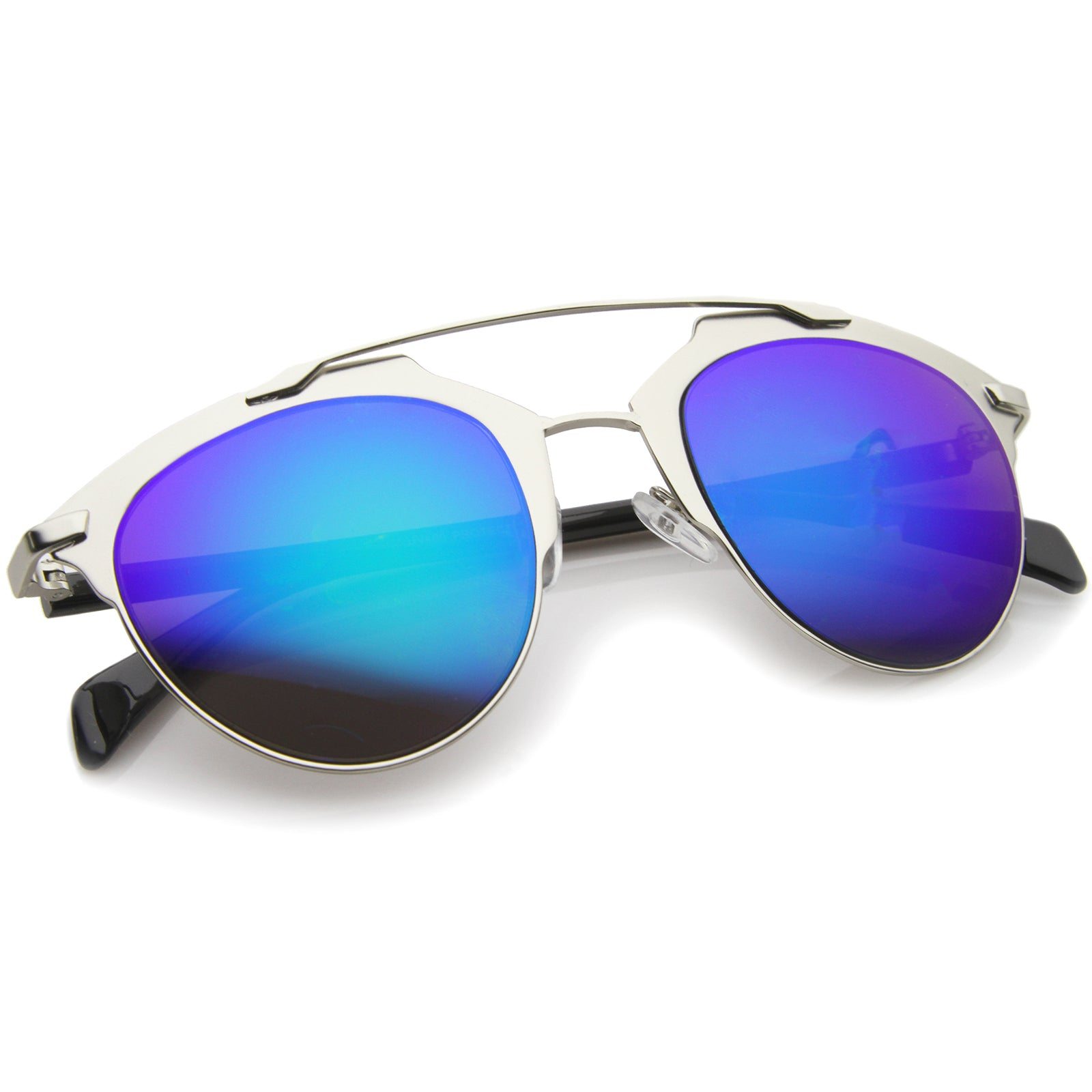 Modern Fashion Metal Double Bridge Mirror Lens Pantos Aviator Sunglasses 50mm - sunglass.la - 16