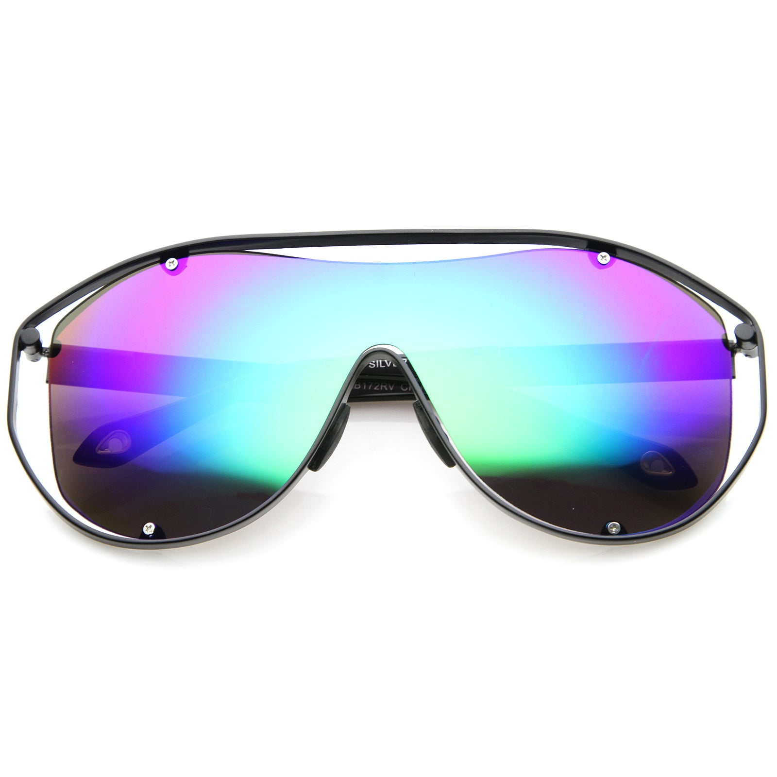 Modern Fashion Metal Frame Inner Rimless Mirror Lens Shield Sunglasses - sunglass.la - 1