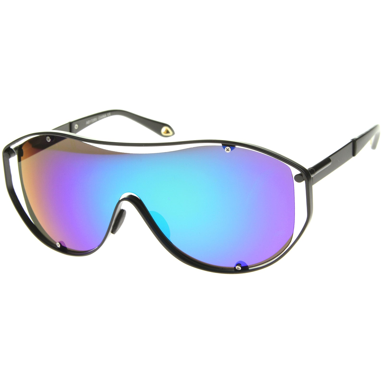 Modern Fashion Metal Frame Inner Rimless Mirror Lens Shield Sunglasses - sunglass.la - 2
