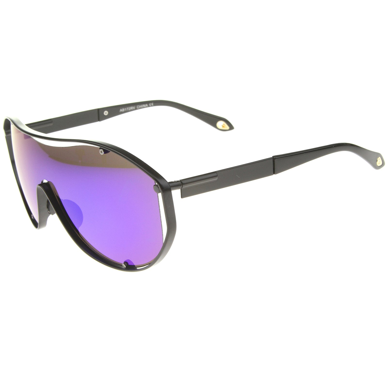 Modern Fashion Metal Frame Inner Rimless Mirror Lens Shield Sunglasses - sunglass.la - 3