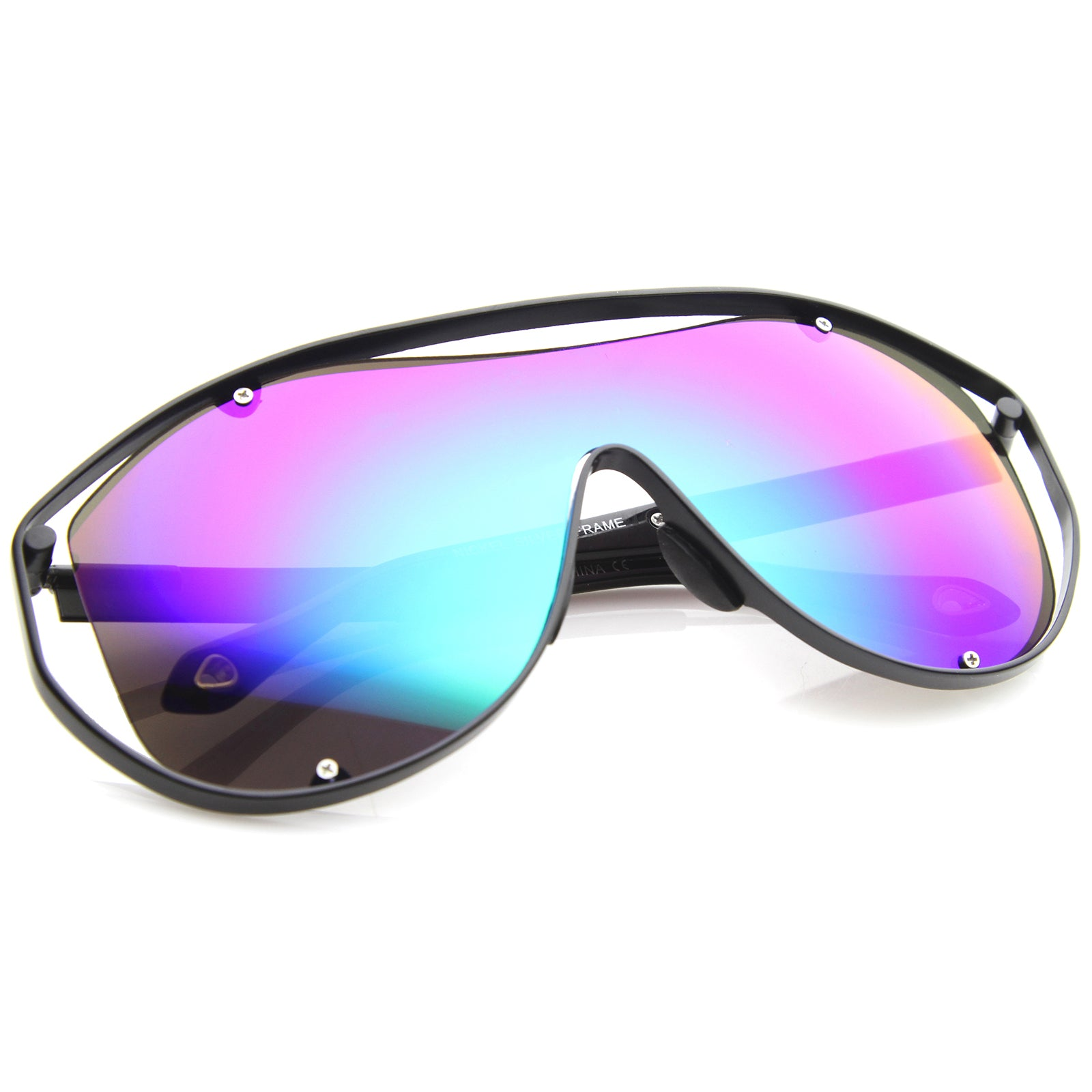 Modern Fashion Metal Frame Inner Rimless Mirror Lens Shield Sunglasses - sunglass.la - 4