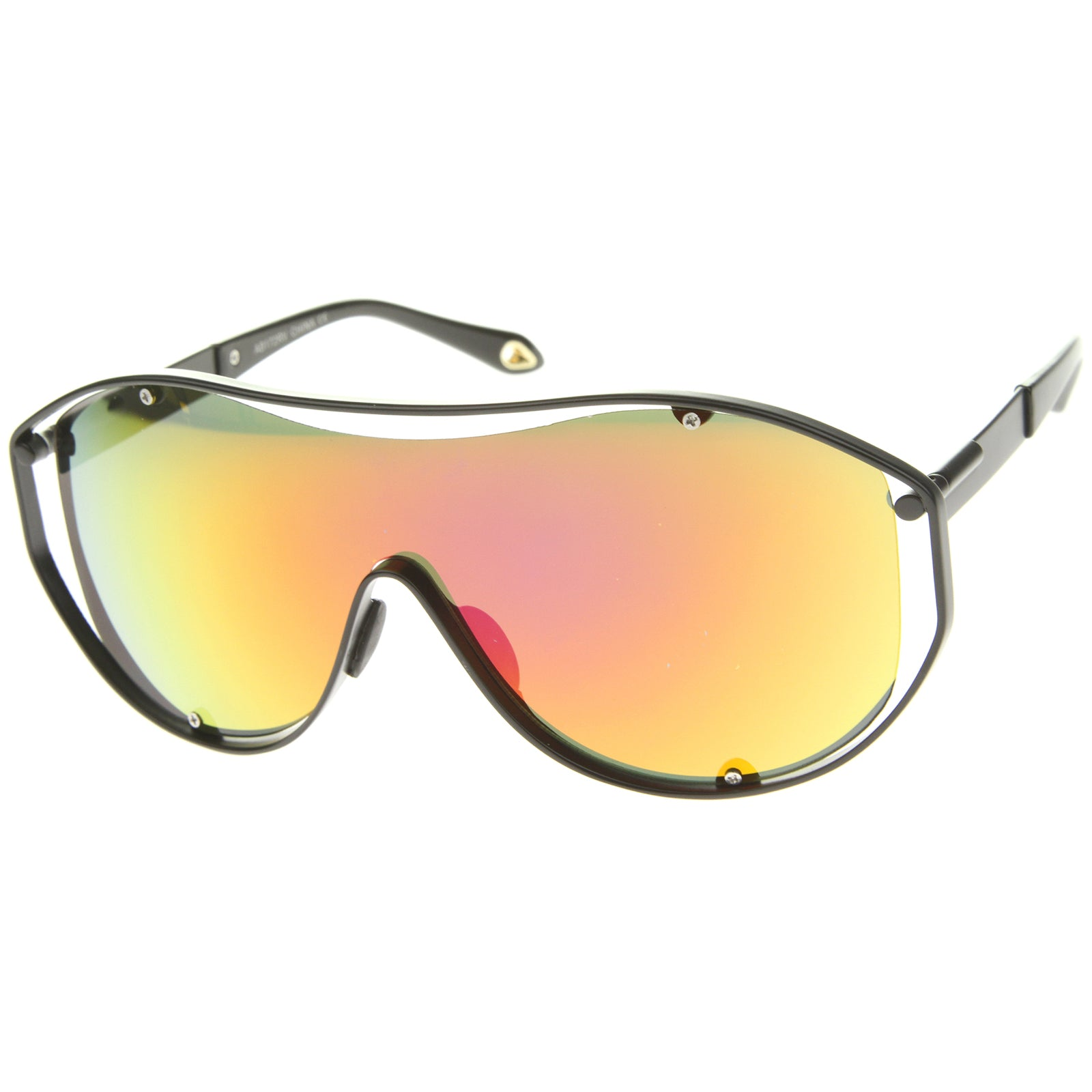 Modern Fashion Metal Frame Inner Rimless Mirror Lens Shield Sunglasses - sunglass.la - 6