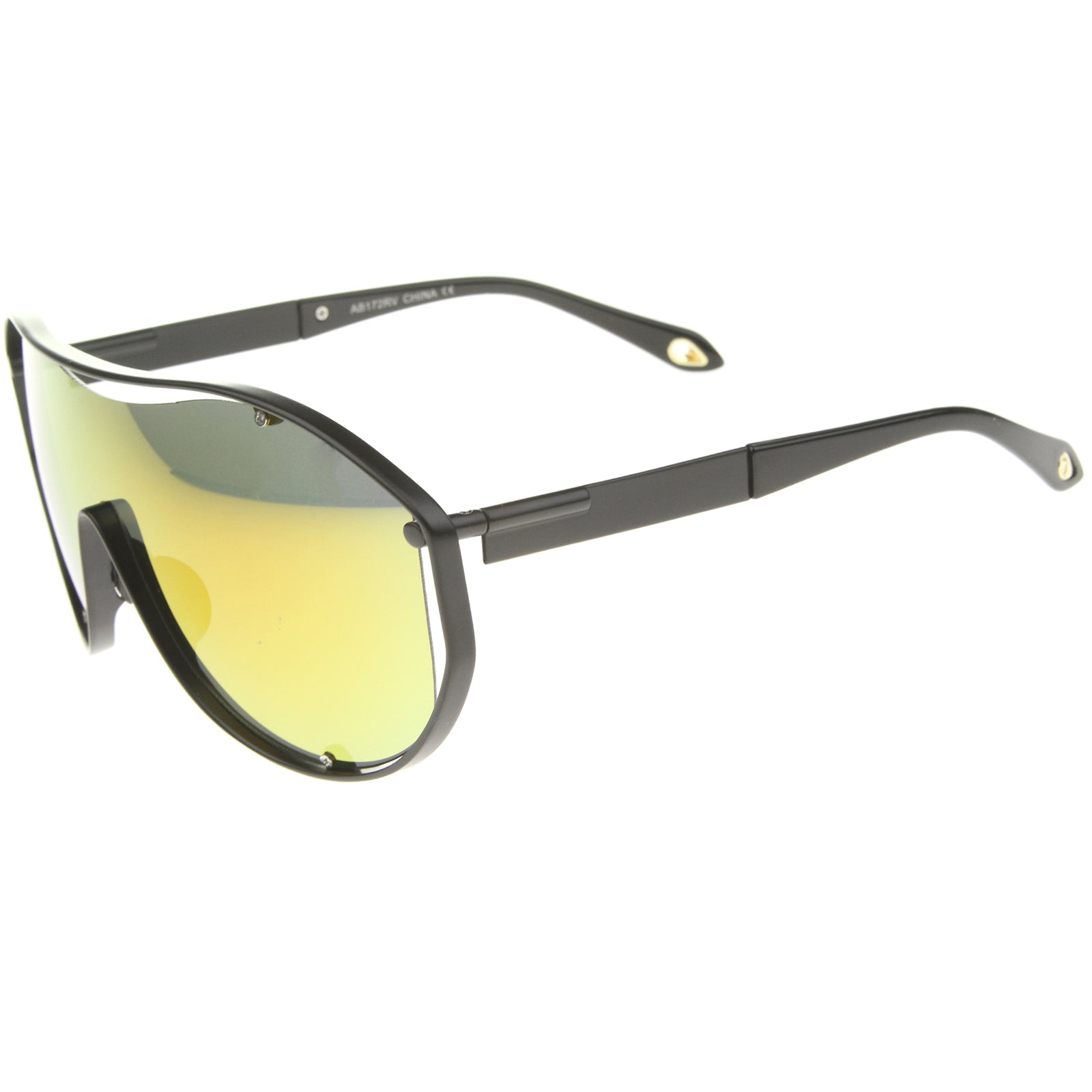 Modern Fashion Metal Frame Inner Rimless Mirror Lens Shield Sunglasses - sunglass.la - 7