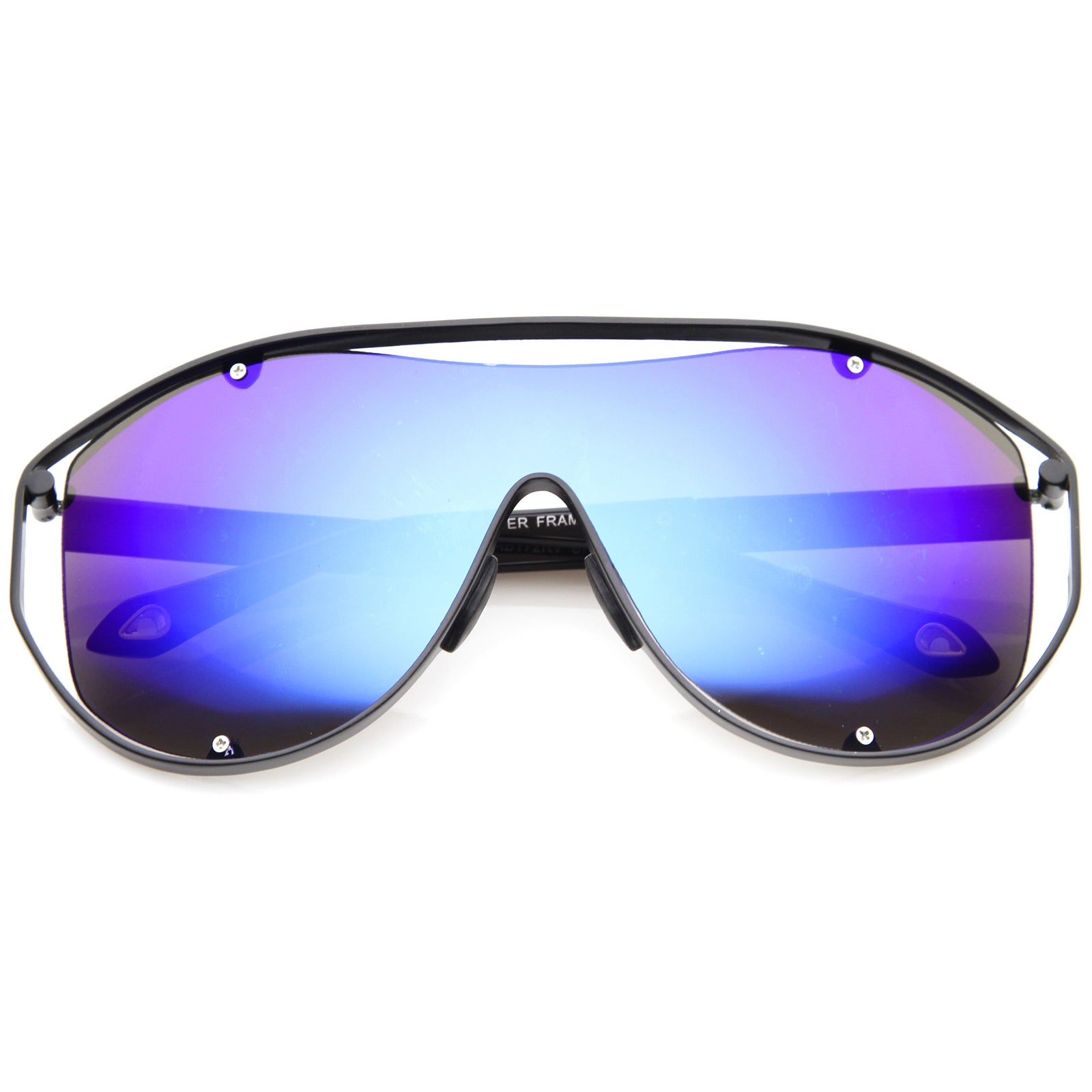 Modern Fashion Metal Frame Inner Rimless Mirror Lens Shield Sunglasses - sunglass.la - 9