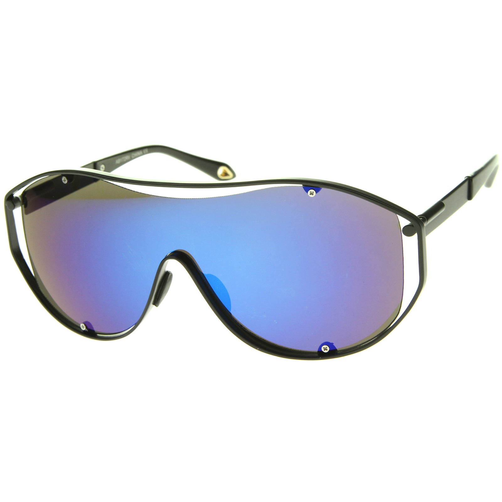 Modern Fashion Metal Frame Inner Rimless Mirror Lens Shield Sunglasses - sunglass.la - 10