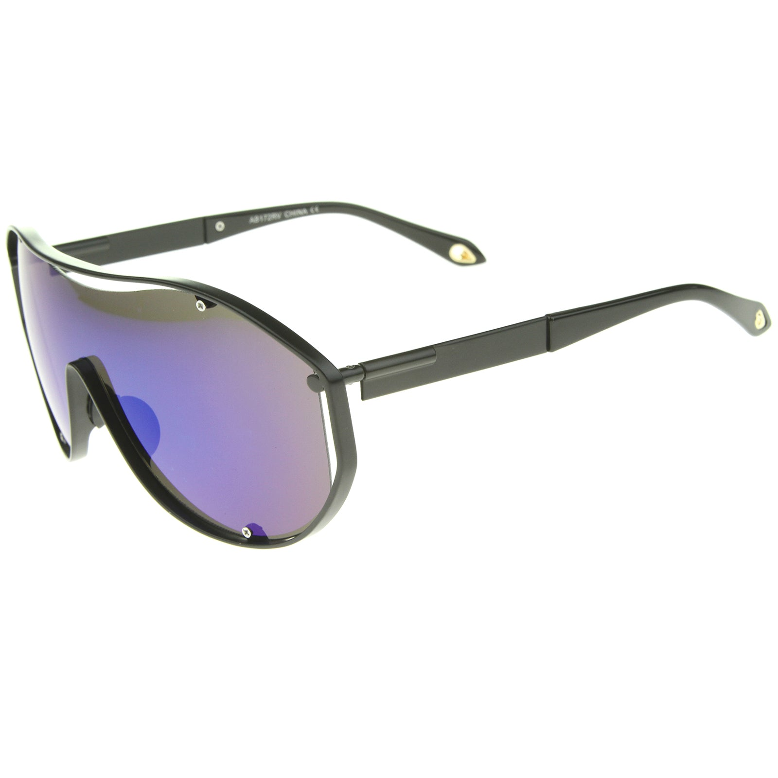 Modern Fashion Metal Frame Inner Rimless Mirror Lens Shield Sunglasses - sunglass.la - 11