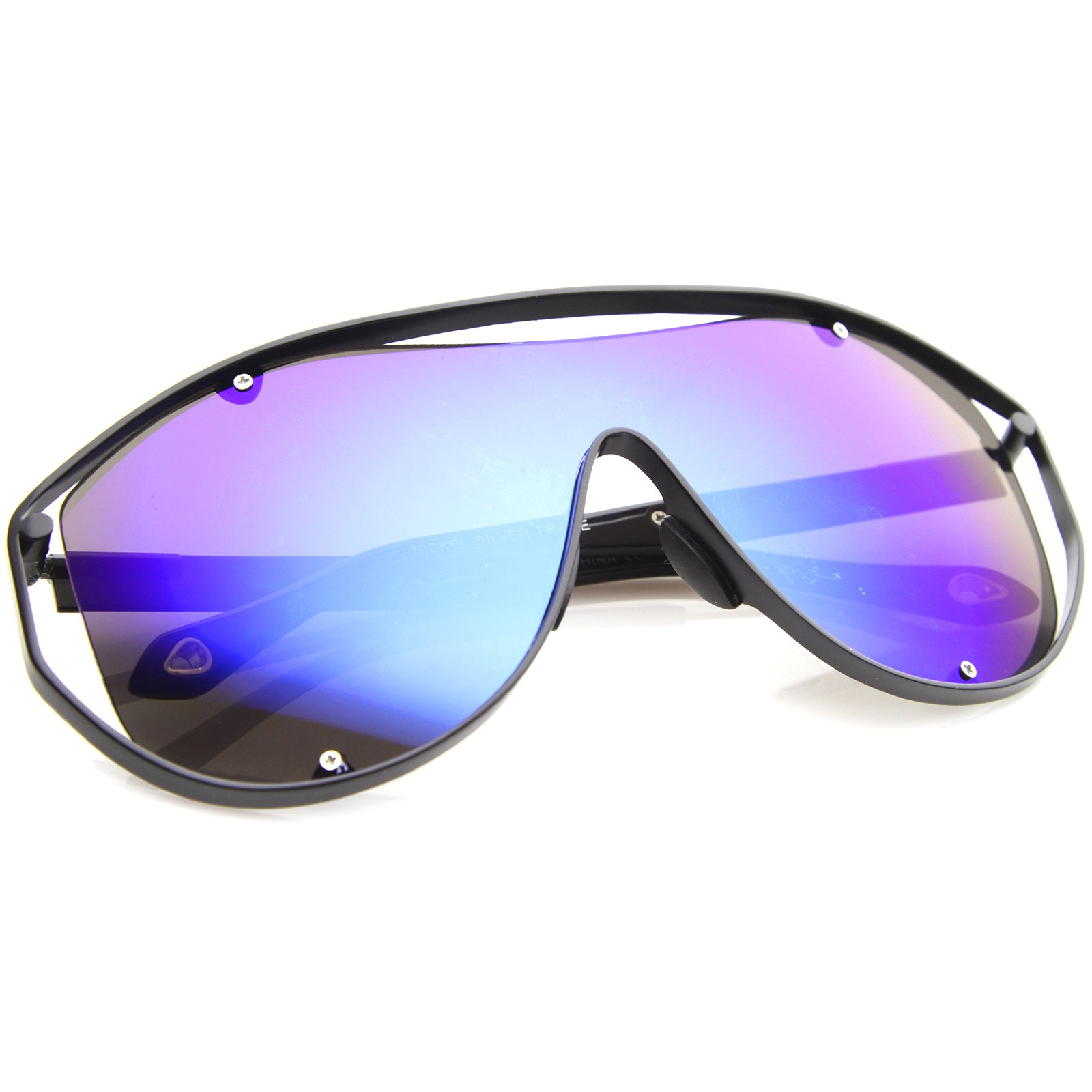 Modern Fashion Metal Frame Inner Rimless Mirror Lens Shield Sunglasses - sunglass.la - 12