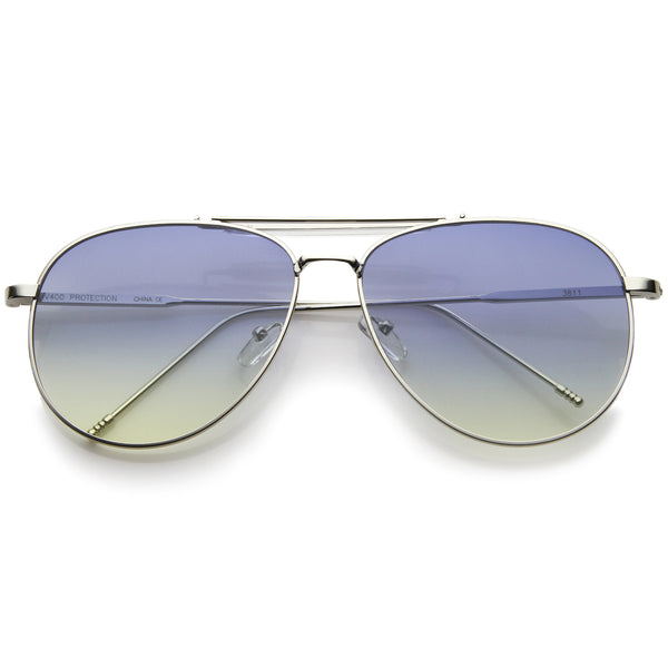 Large Classic Teardrop Crossbar Oceanic Flat Lens Aviator Sunglasses 56mm - sunglass.la