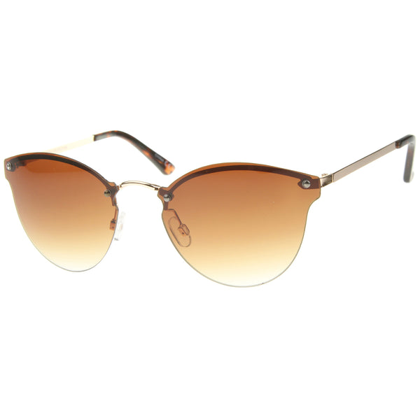 Womens Fashion Lightweight Rimless Metal Temple Cat Eye Sunglasses - sunglass.la - 1