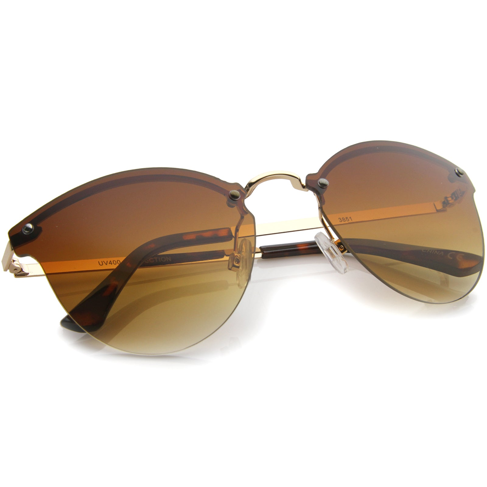 Womens Fashion Lightweight Rimless Metal Temple Cat Eye Sunglasses - sunglass.la - 4