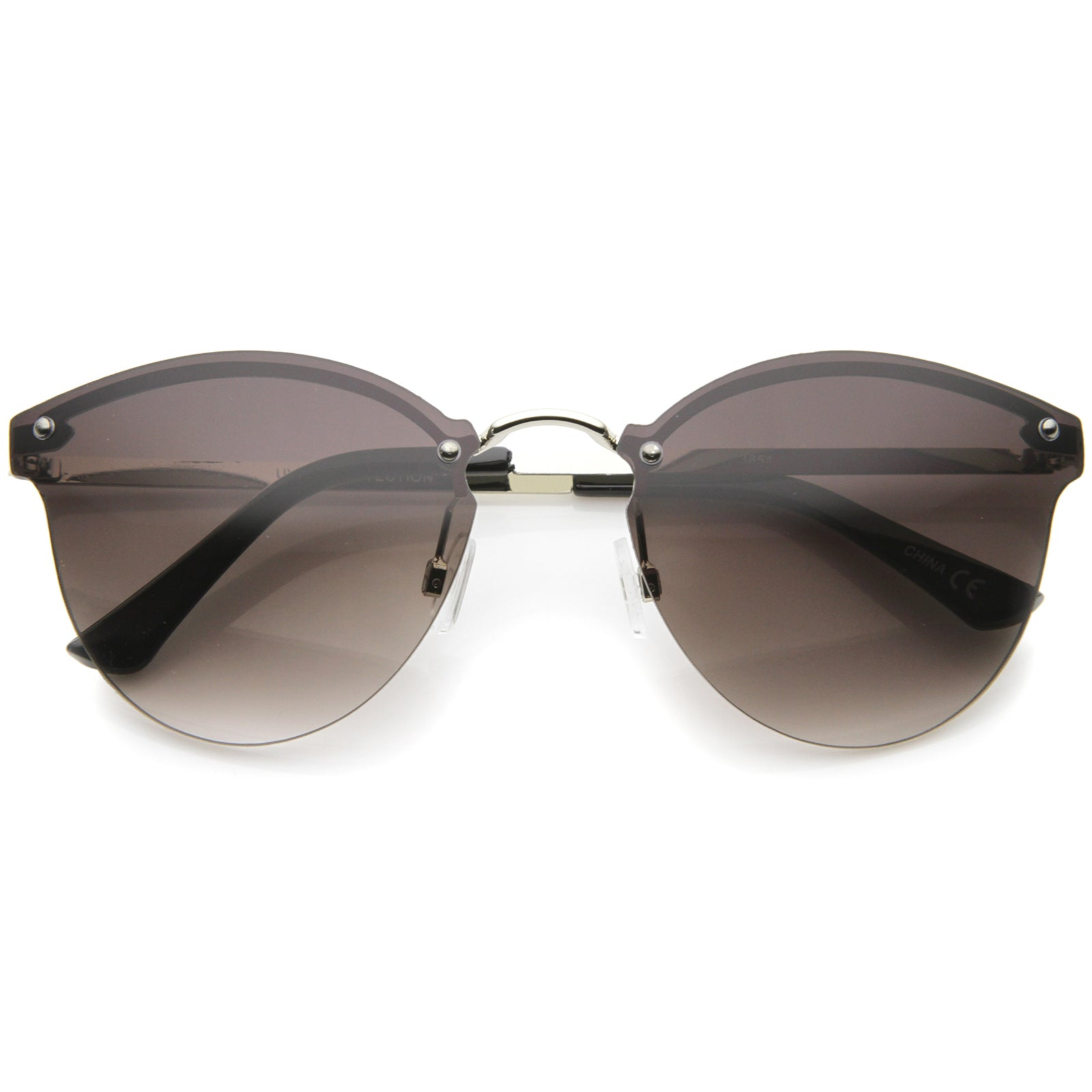 Womens Fashion Lightweight Rimless Metal Temple Cat Eye Sunglasses - sunglass.la - 5
