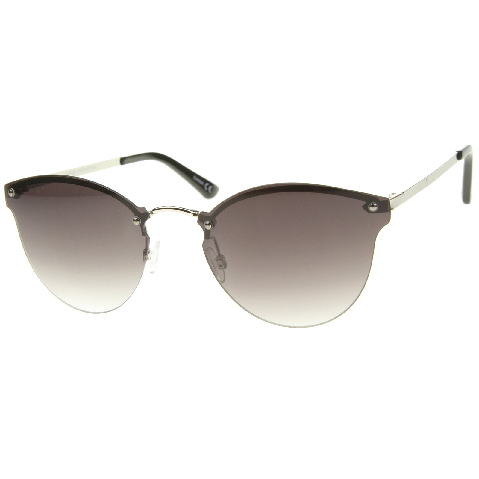 Womens Fashion Lightweight Rimless Metal Temple Cat Eye Sunglasses - sunglass.la - 6