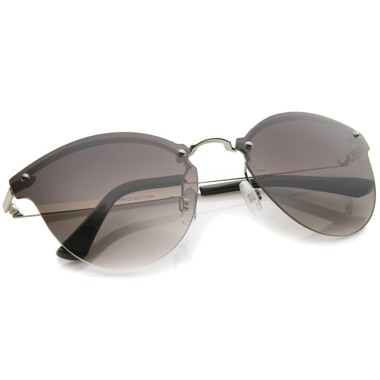 Womens Fashion Lightweight Rimless Metal Temple Cat Eye Sunglasses - sunglass.la - 8