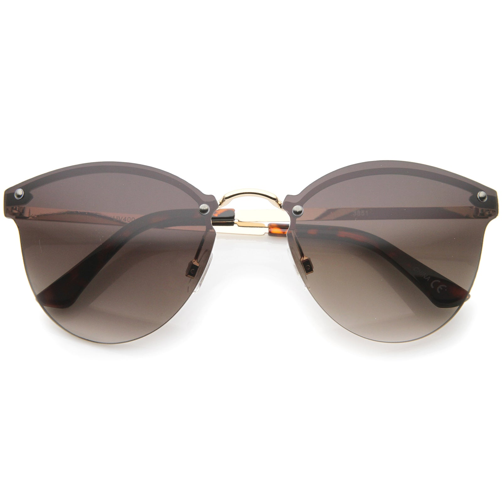 Womens Fashion Lightweight Rimless Metal Temple Cat Eye Sunglasses - sunglass.la - 9