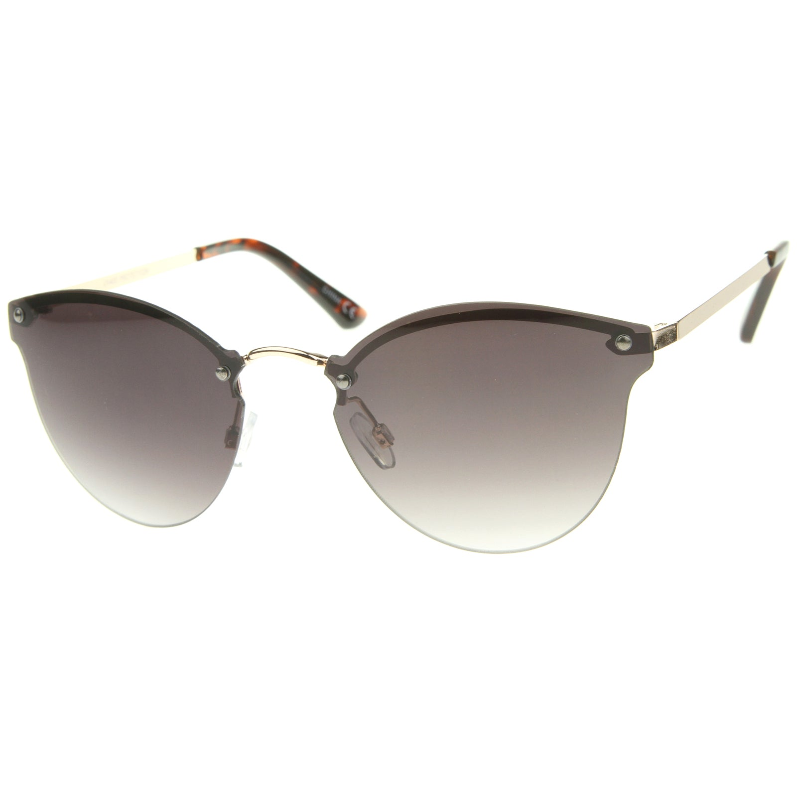 Womens Fashion Lightweight Rimless Metal Temple Cat Eye Sunglasses - sunglass.la - 10